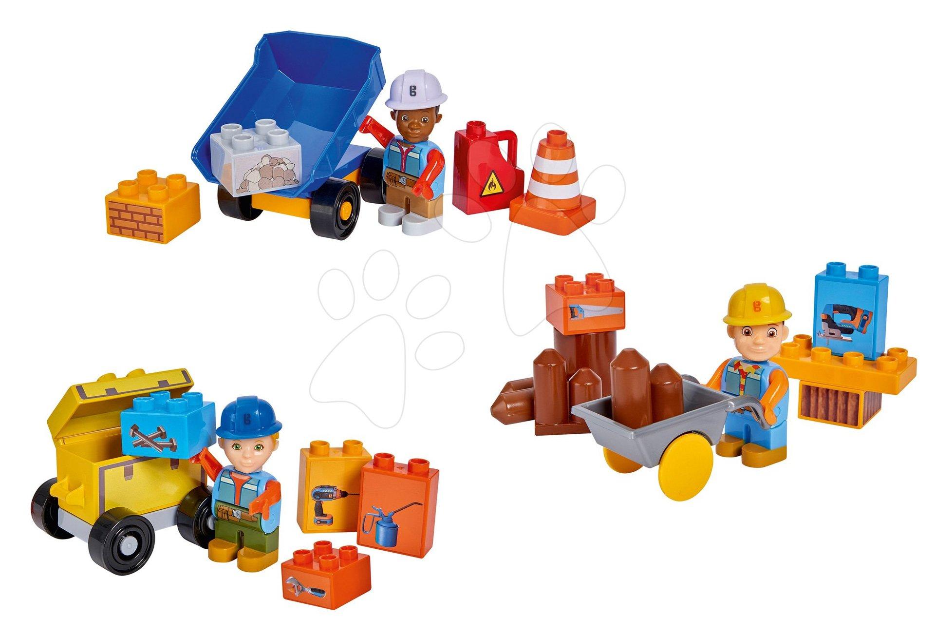 Set 3 stavebnic s vozíky Bob the Builder PlayBIG BLOXX Bob na staveništi 3 figurky od 24 měsíců