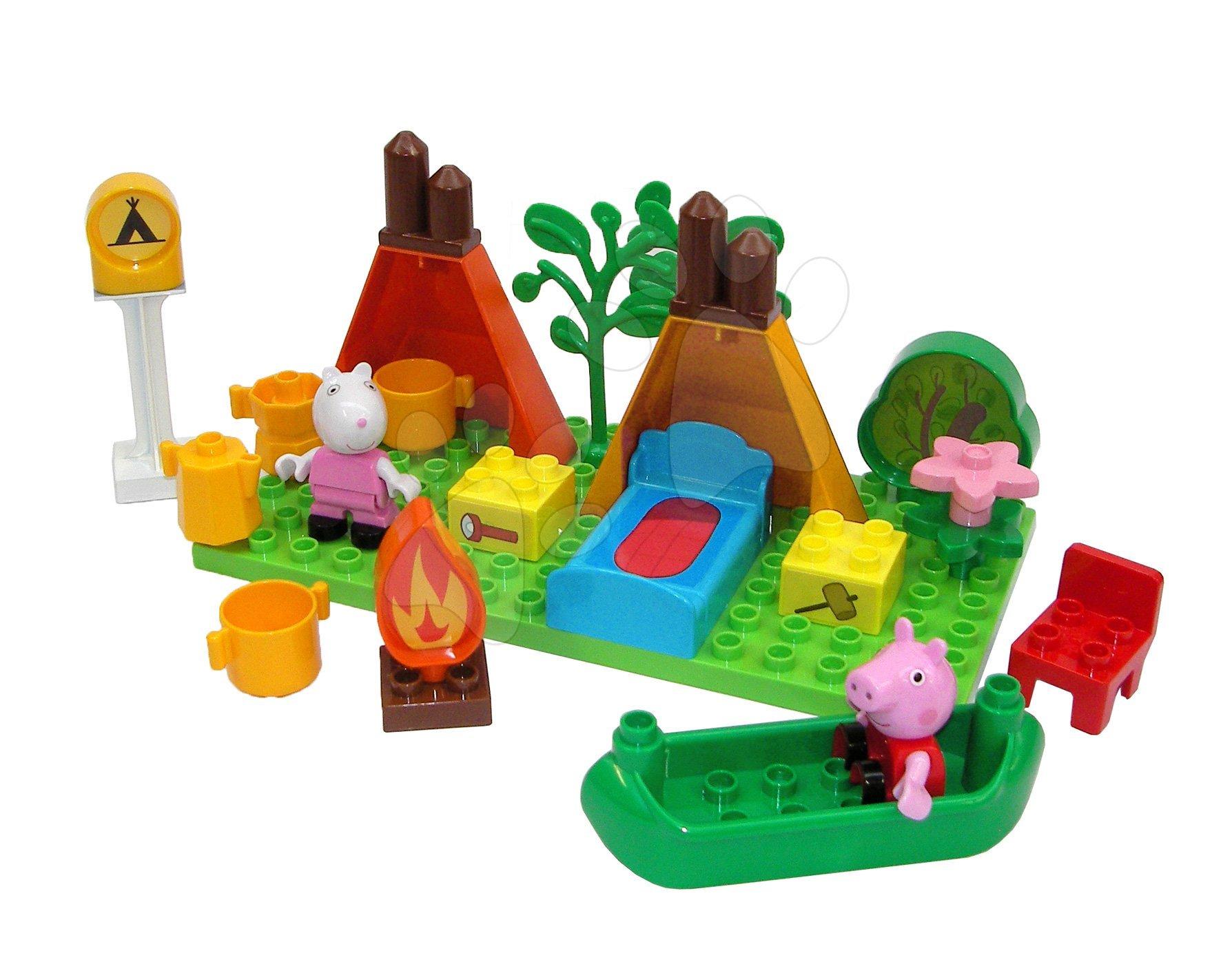 Stavebnica Peppa Pig Camping set PlayBIG Bloxx BIG 25 dielov v prírode s 2 figúrkami od 1,5-5 rokov