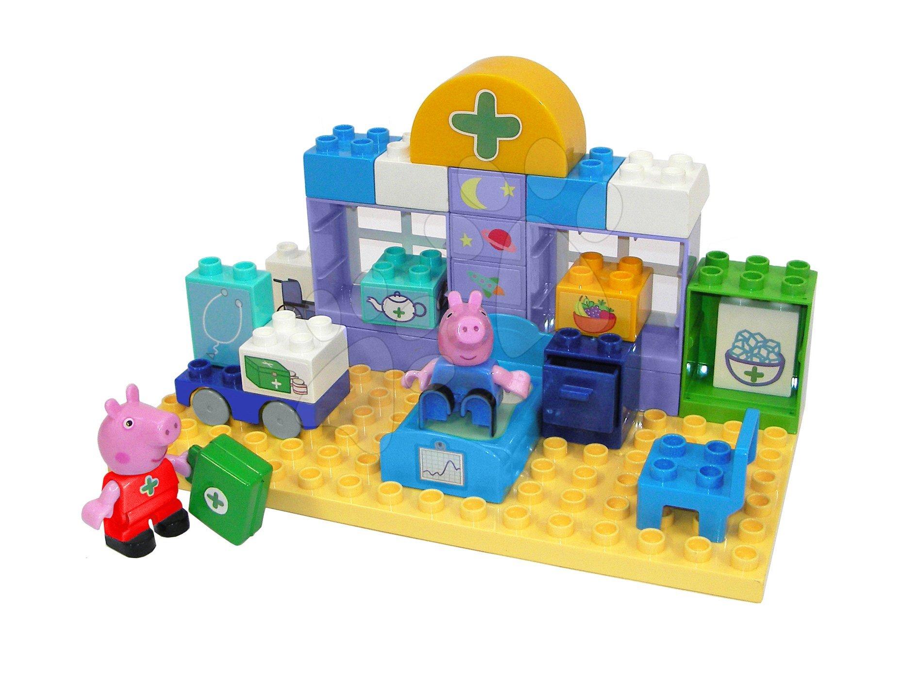 Stavebnice Peppa Pig Lékařský kufřík PlayBIG Bloxx BIG v nemocnici s 2 figurkami 32 dílů od 1,5–5 let