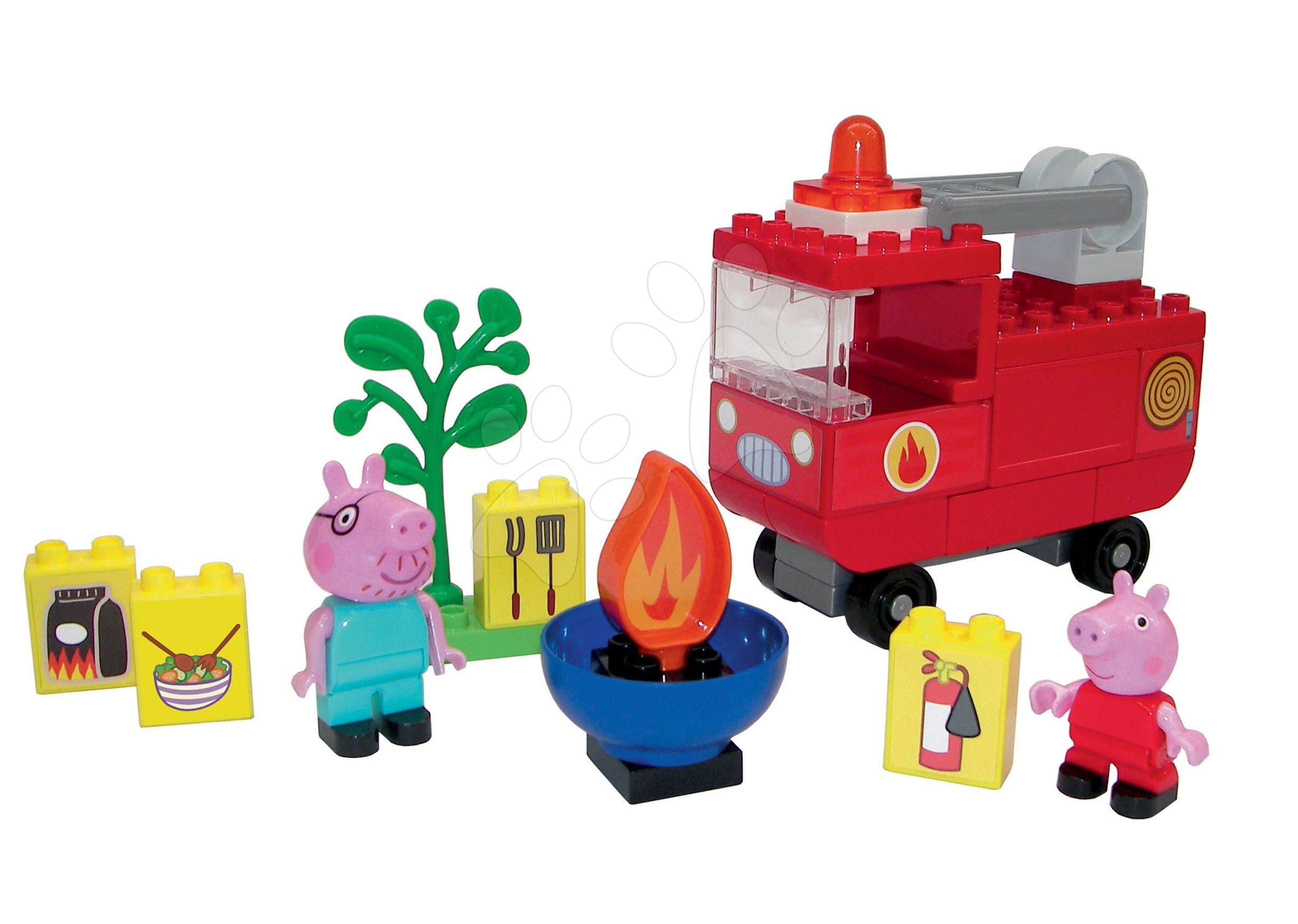 Építőjátékok BIG-Bloxx mint lego - Építőjáték Peppa Pig Fire Engine PlayBIG Bloxx BIG Tűzoltókocsi  2 figurával 40 darabos 18 hó-tól