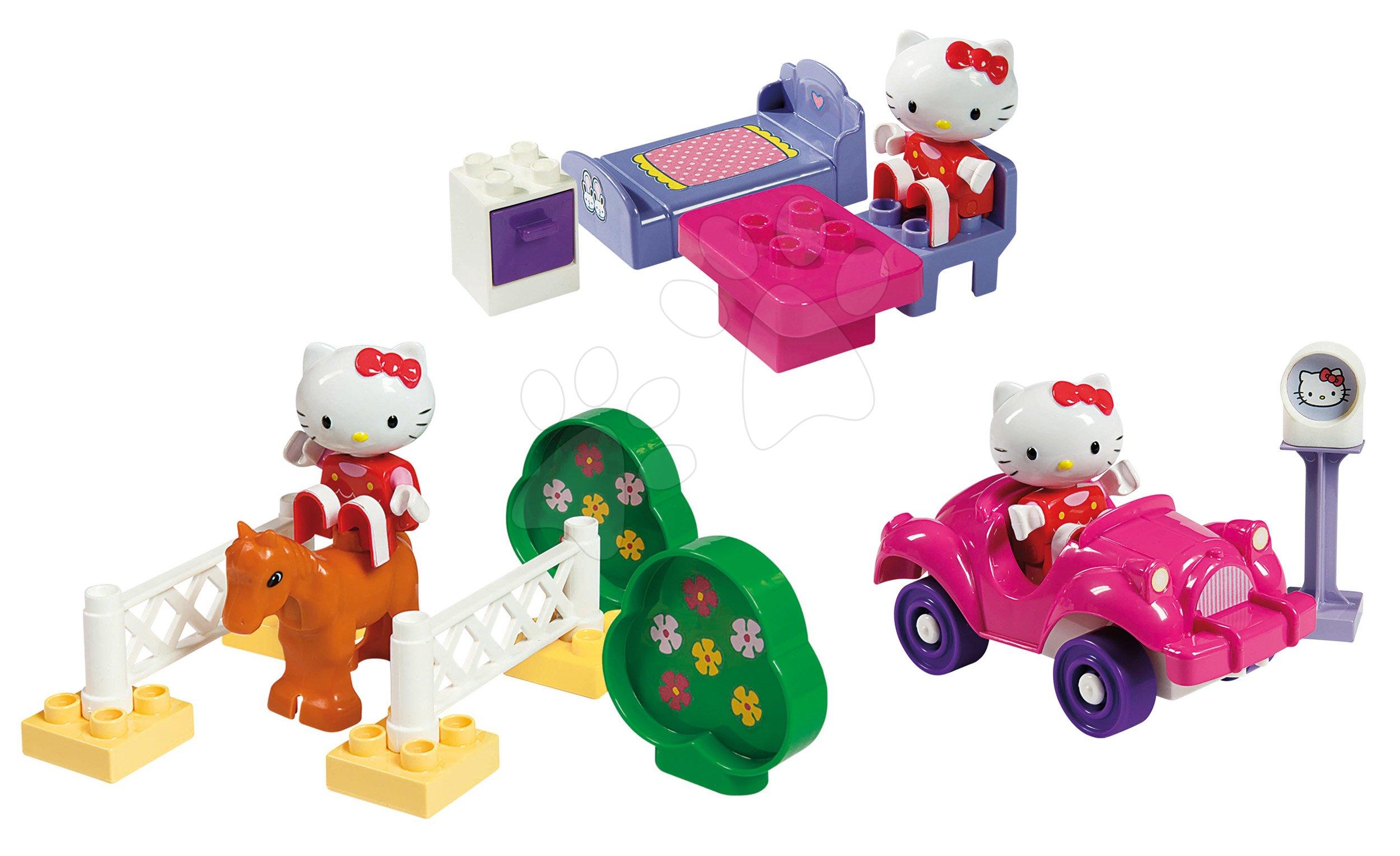 Stavebnice BIG-Bloxx ako lego - Stavebnica PlayBIG Bloxx BIG Hello Kitty - na dostihoch v autíčku a v spálni od 18 mes