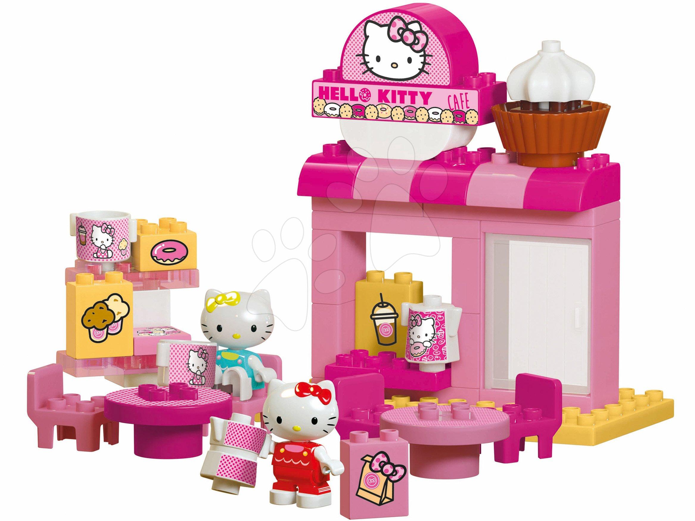 Építőjátékok BIG-Bloxx mint lego - Építőjáték PlayBIG Bloxx Cafe BIG Hello Kitty kávézóban barátnőjével 2 figura 45 darabos 18 hó-tól