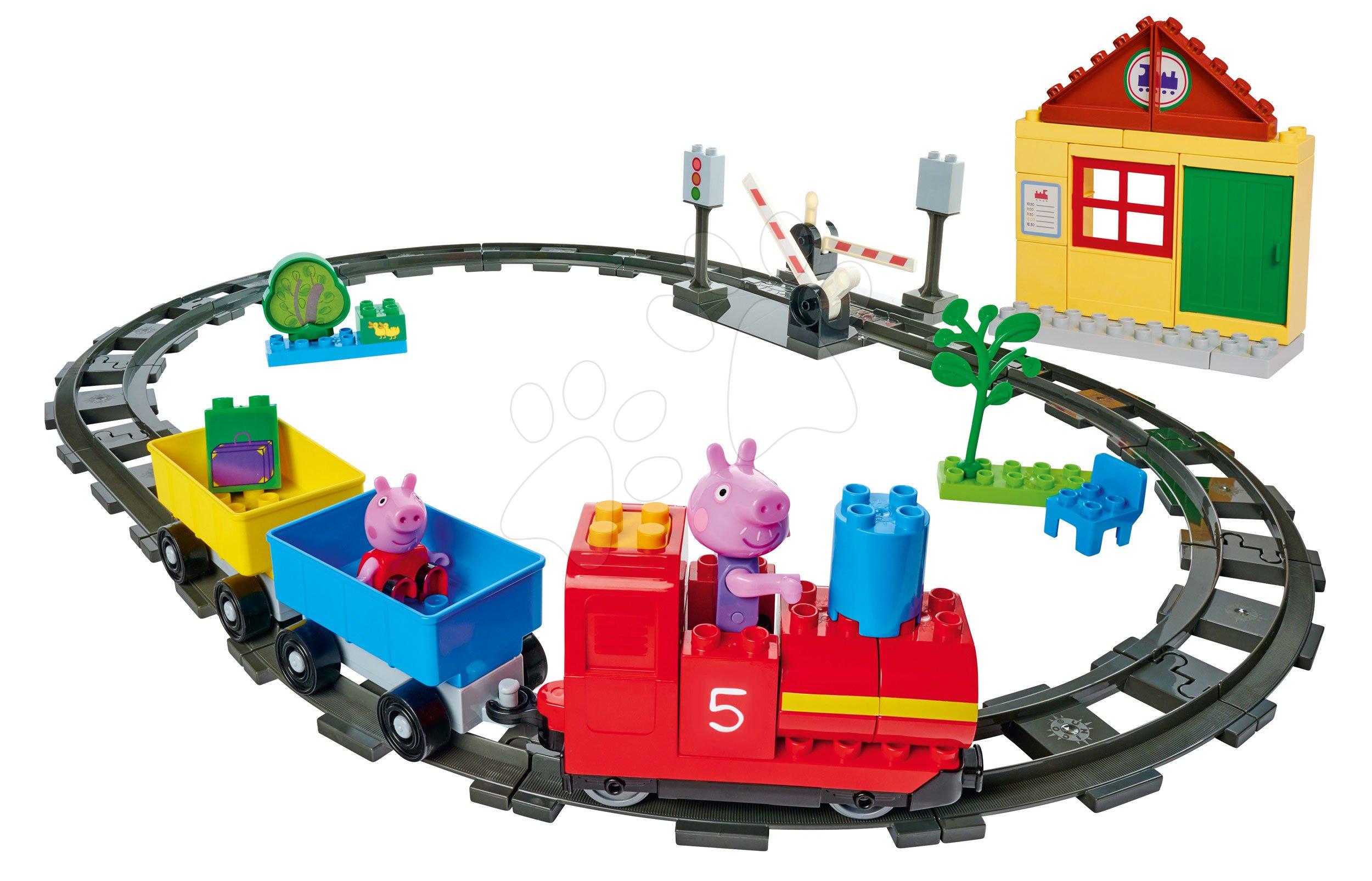 Stavebnica Peppa Pig Train Fun PlayBIG Bloxx železnica s vlakom a domčekom s 2 figúrkami od 18 mes