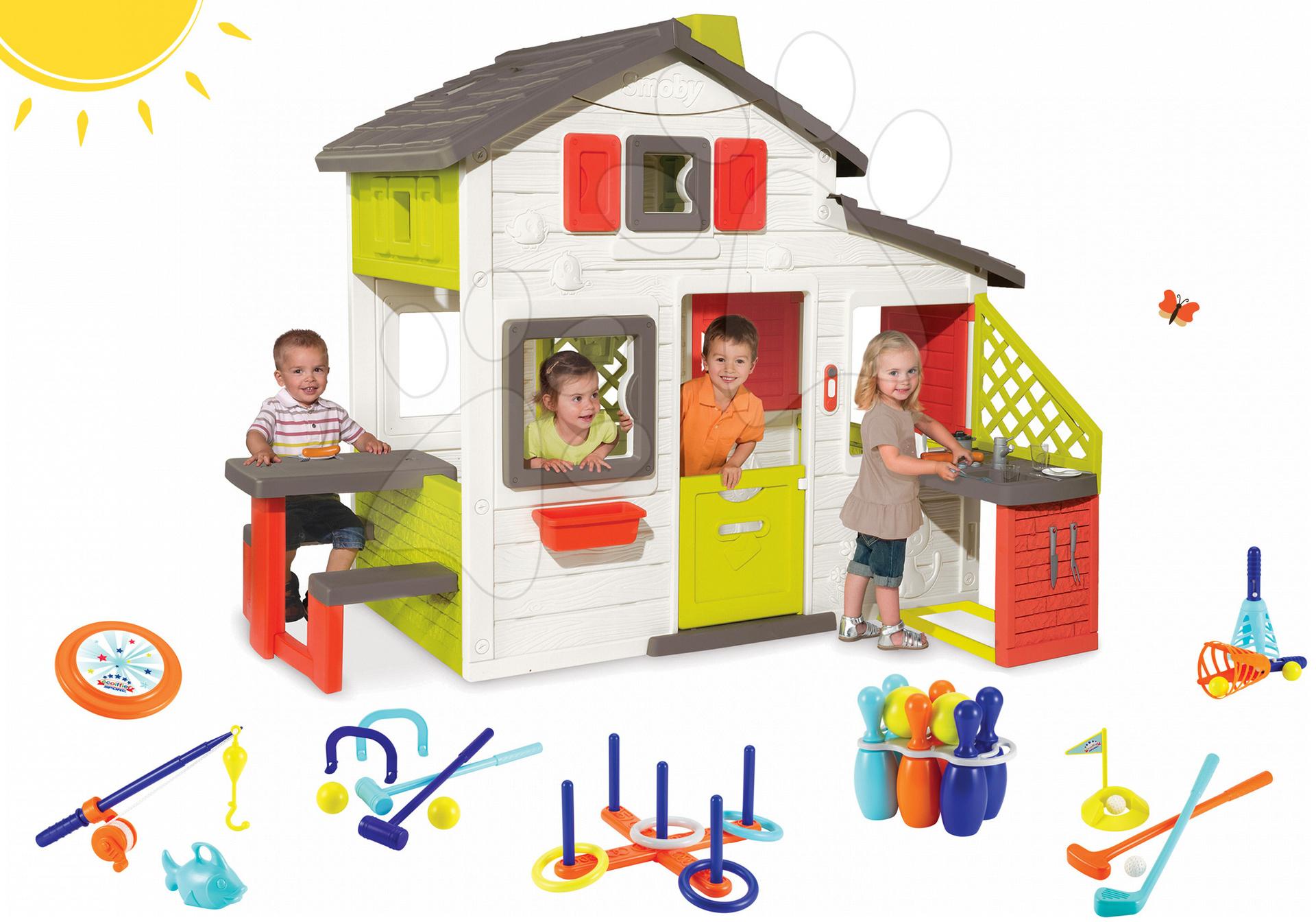 Szett házikó Barátok Smoby konyhával és csengővel és sport szett 7 játékkal