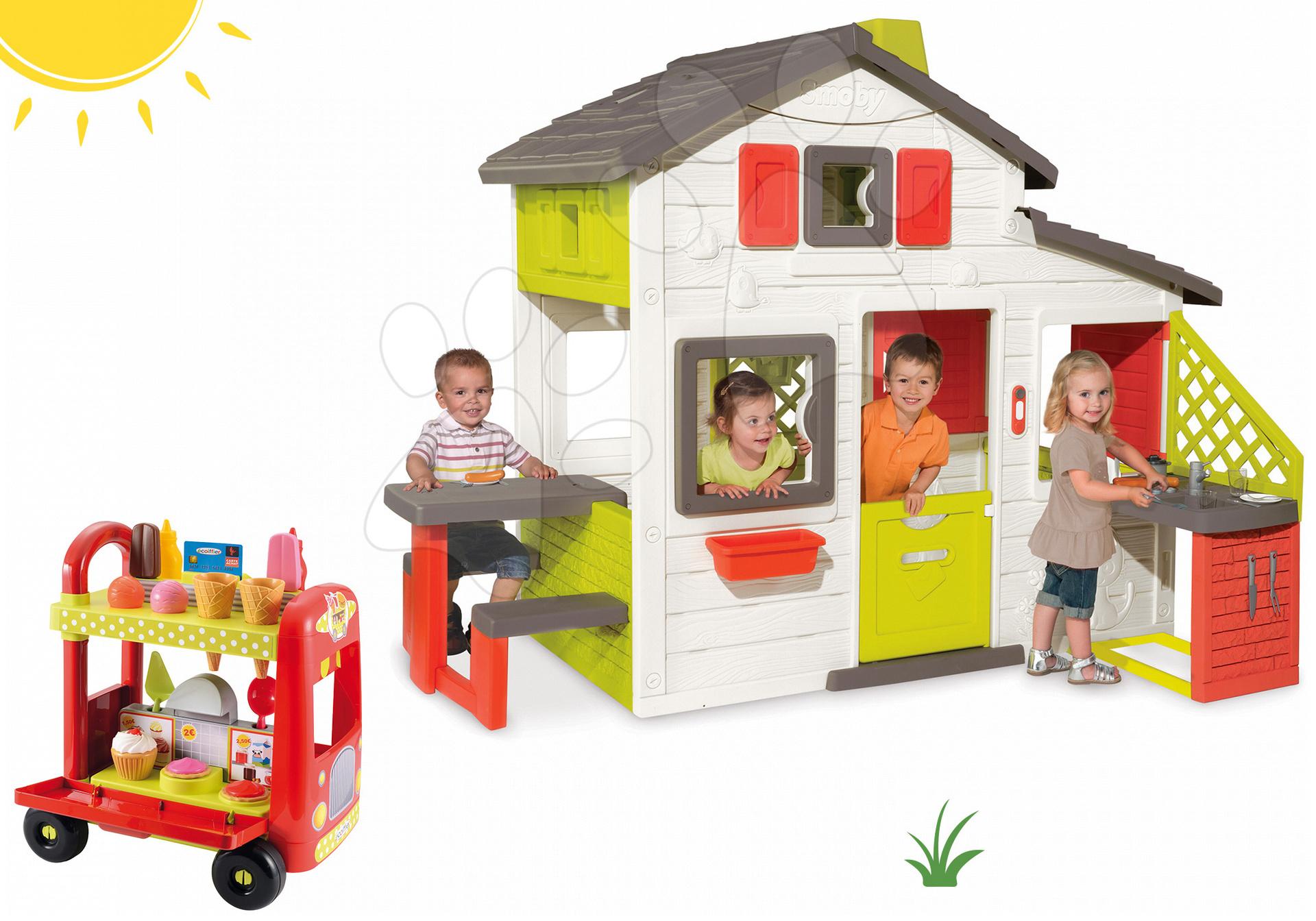 Set căsuţă Prieteni cu bucătărie Smoby cu sonerie, cărucior, îngheţată şi hamburger