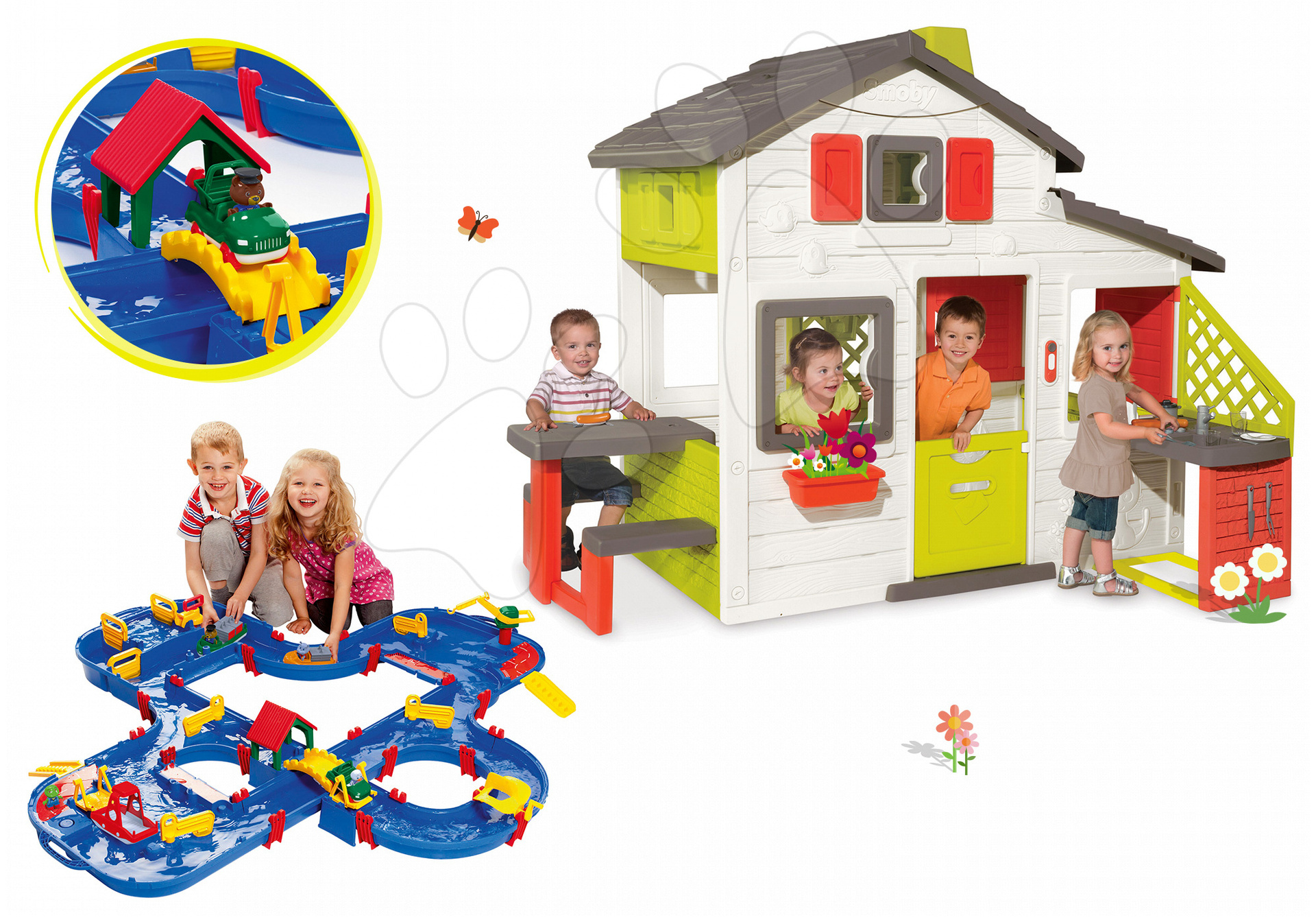 Szett házikó Barátok Smoby konyhasarokkal, csengővel és vízi pálya Aquaplay 'n Go kofferben