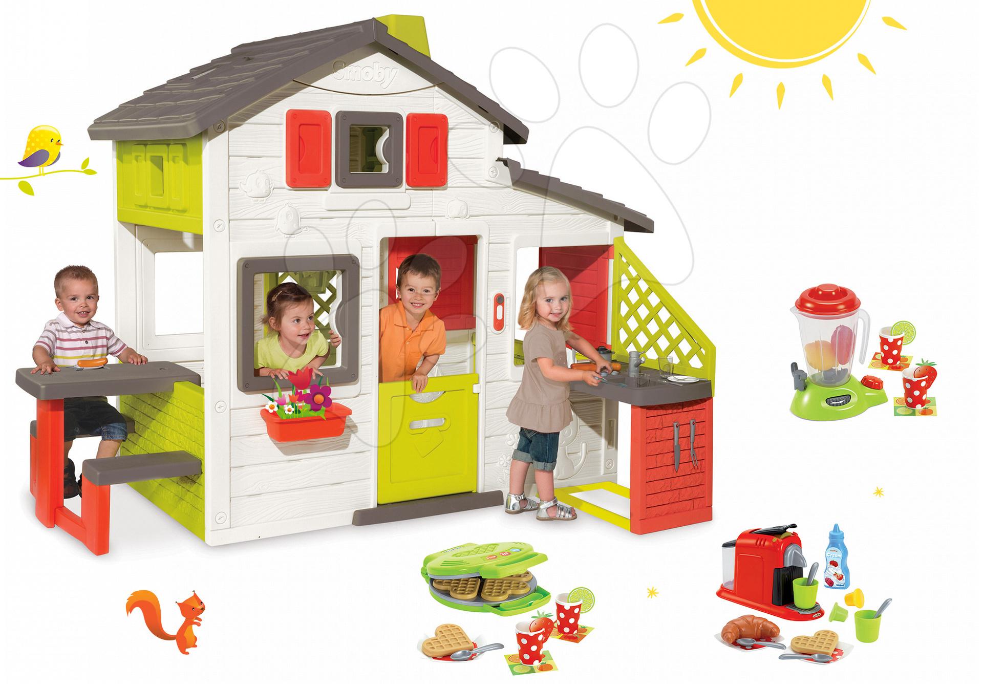 Szett házikó Barátok Smoby konyhasarokkal, csengővel és gofrisütő turmixgéppel, kávéfőzővel és gofrikkal