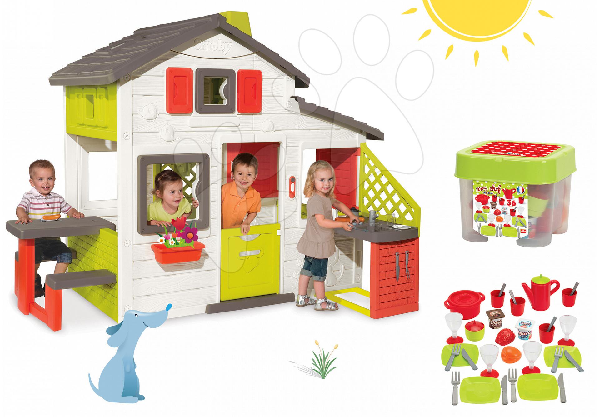Szett házikó Barátok Smoby konyhasarokkal, csengővel és étkészlet tárolódobozban kiegészítőkkel