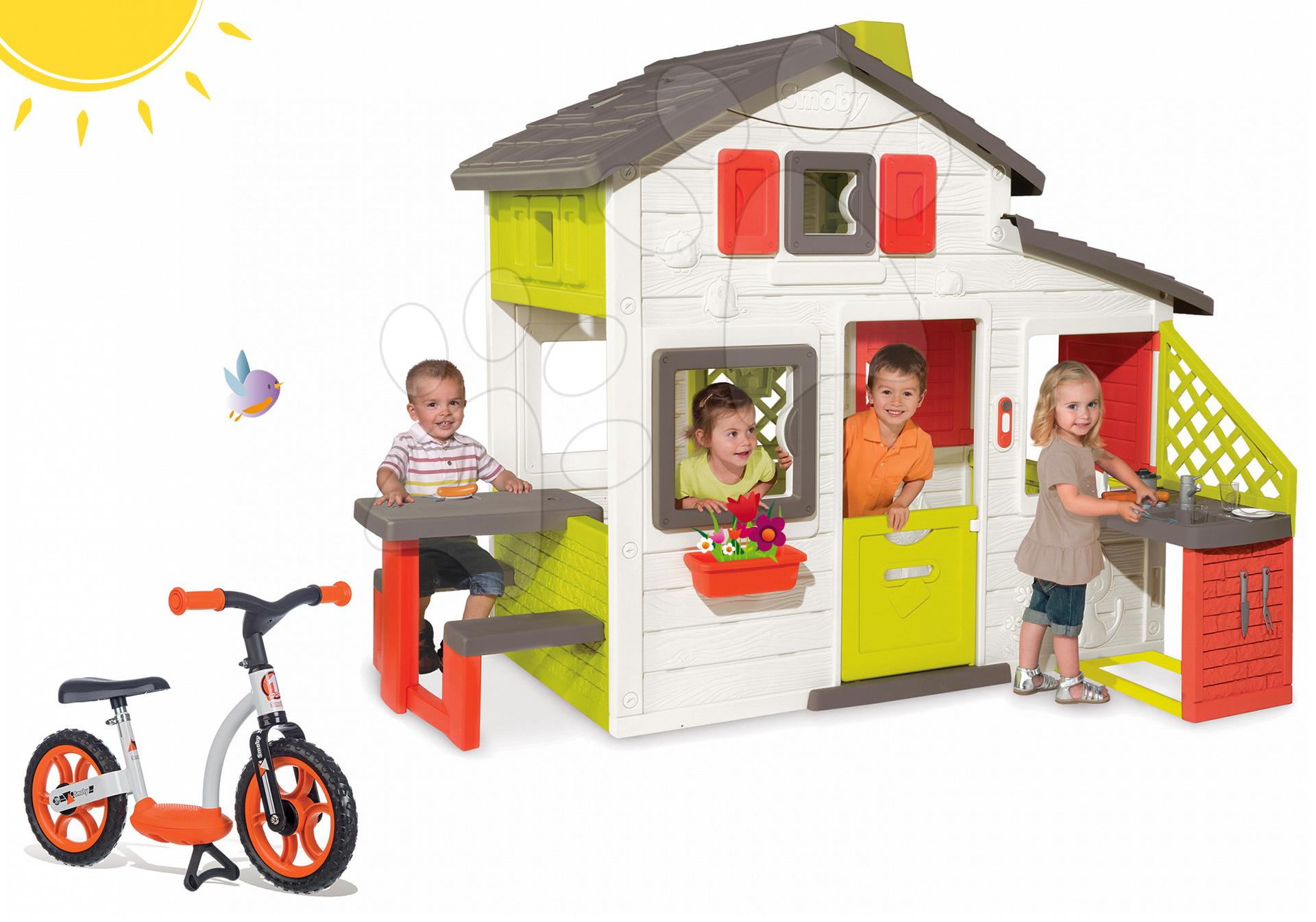 Smoby set domček Priateľov a balančné odrážadlo Learning Bike 810200-9