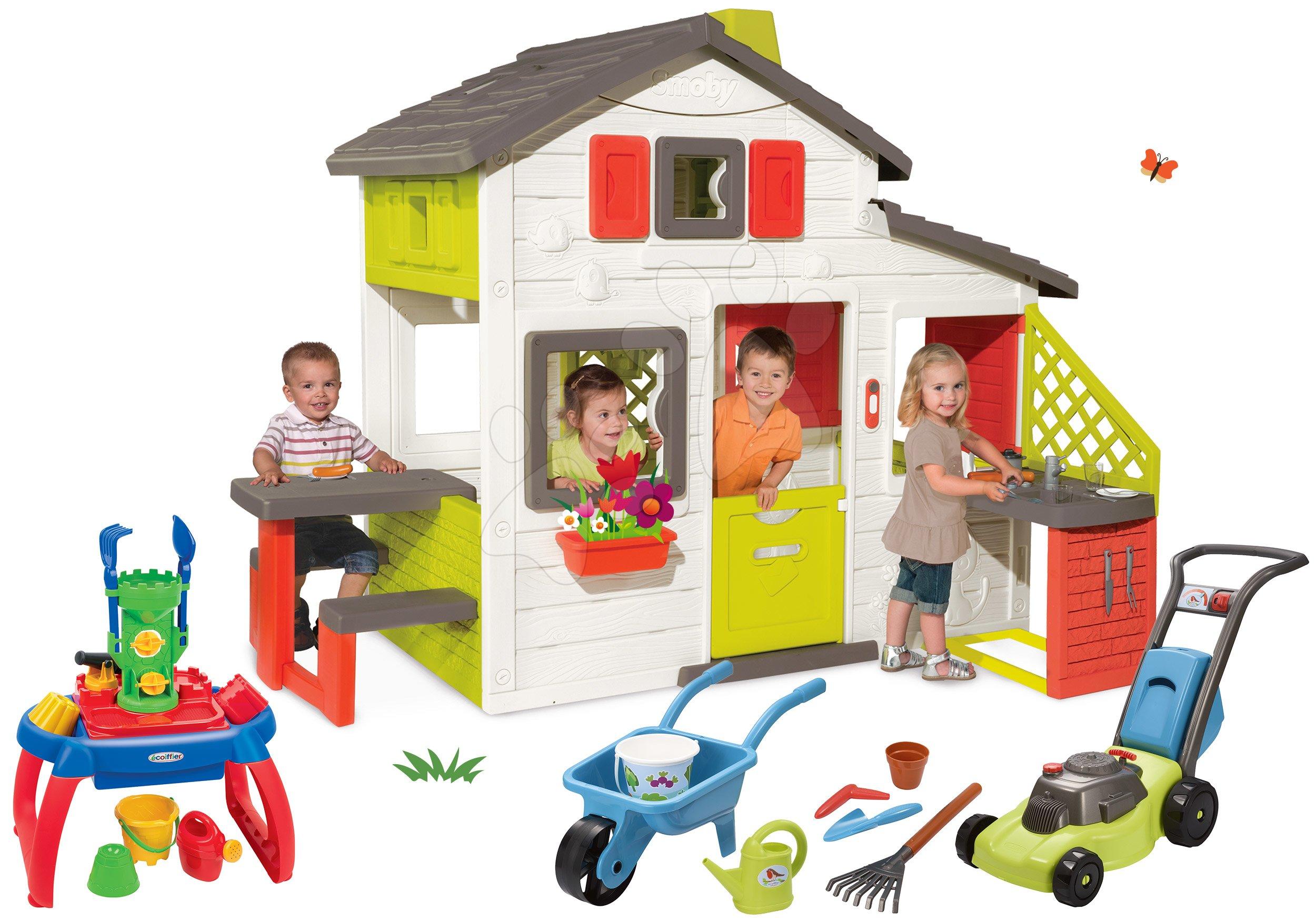 Domčeky s náradím - Set domček Priateľov Smoby s kuchynkou a zvončekom fúrik set s kosačkou a pieskovisko stolík