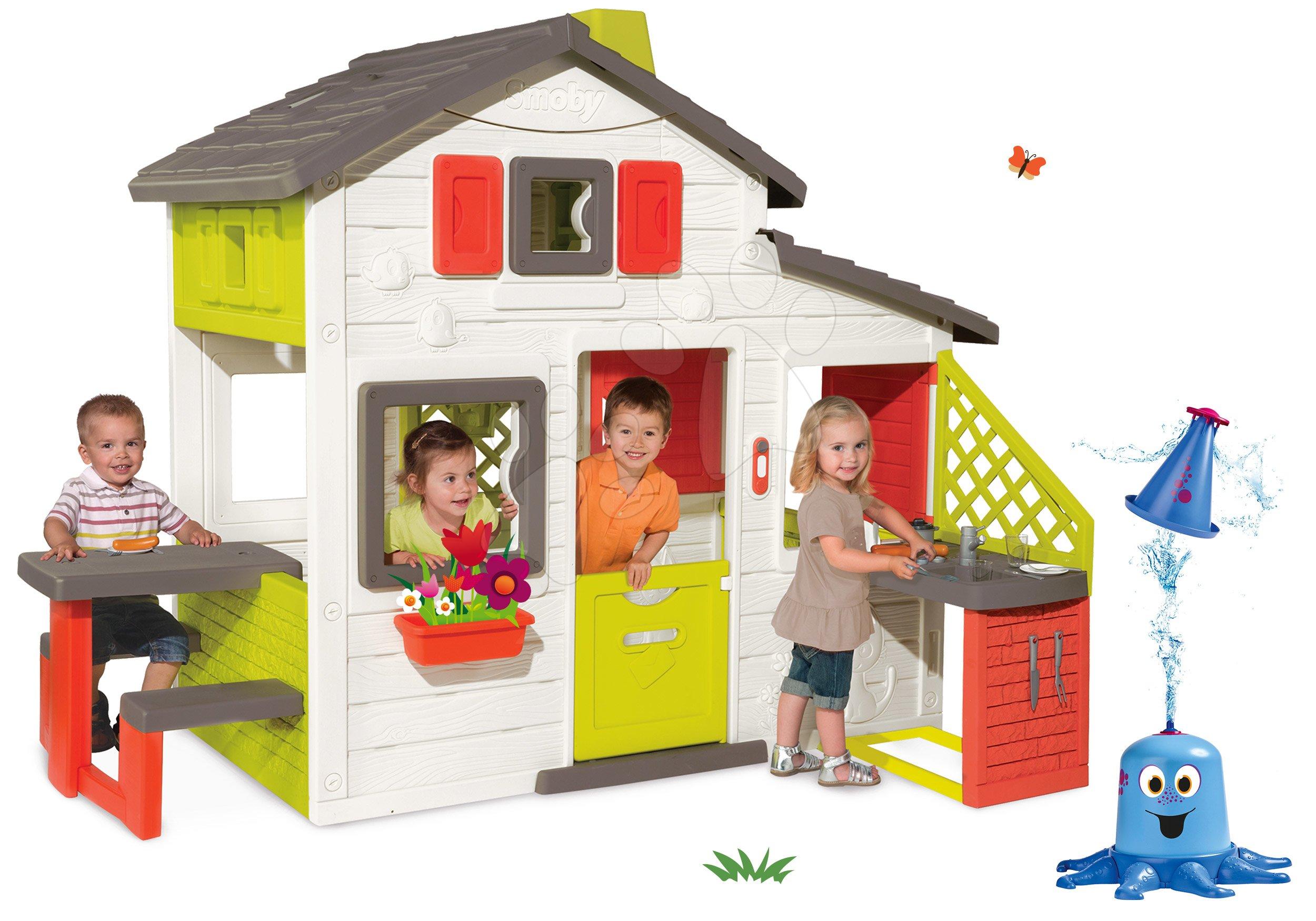 Szett házikó Barátok Smoby konyhával és csengővel és vízspriccelő polip
