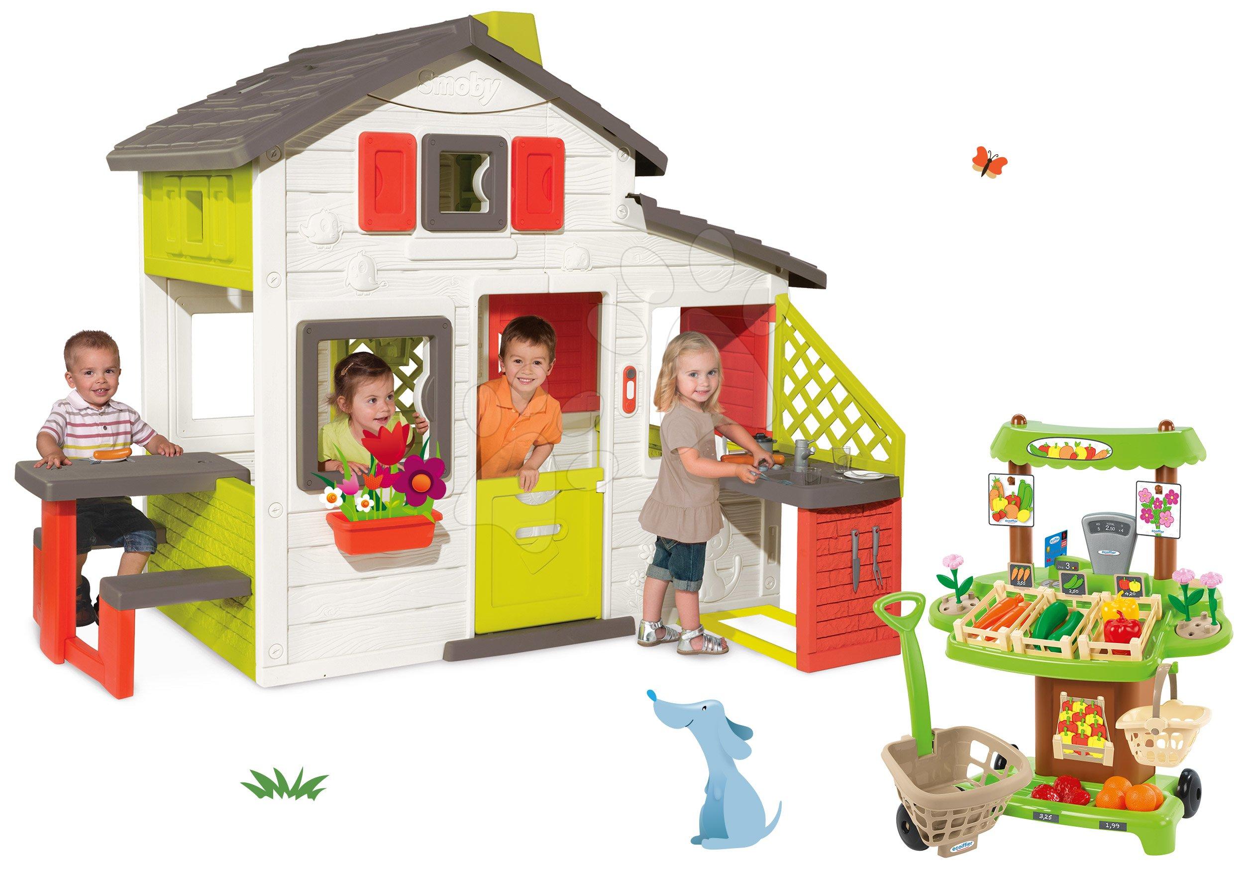 Smoby domček Priateľov a Écoiffier zeleninový stánok 810200-17