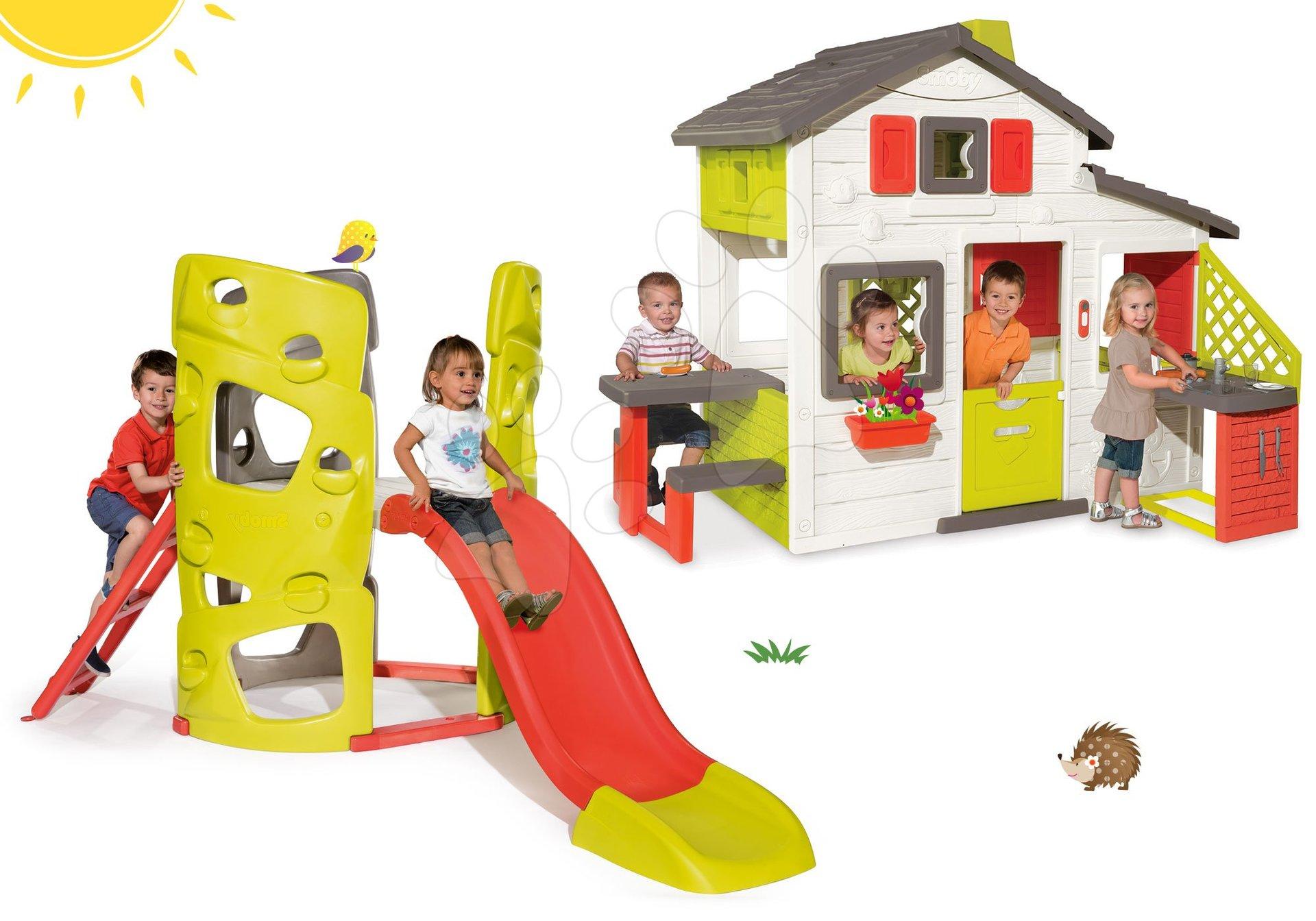 Set domček Priateľov Smoby s kuchynkou a zvončekom a preliezačka Multiactivity Climbing Tower Smoby so šmykľavkou