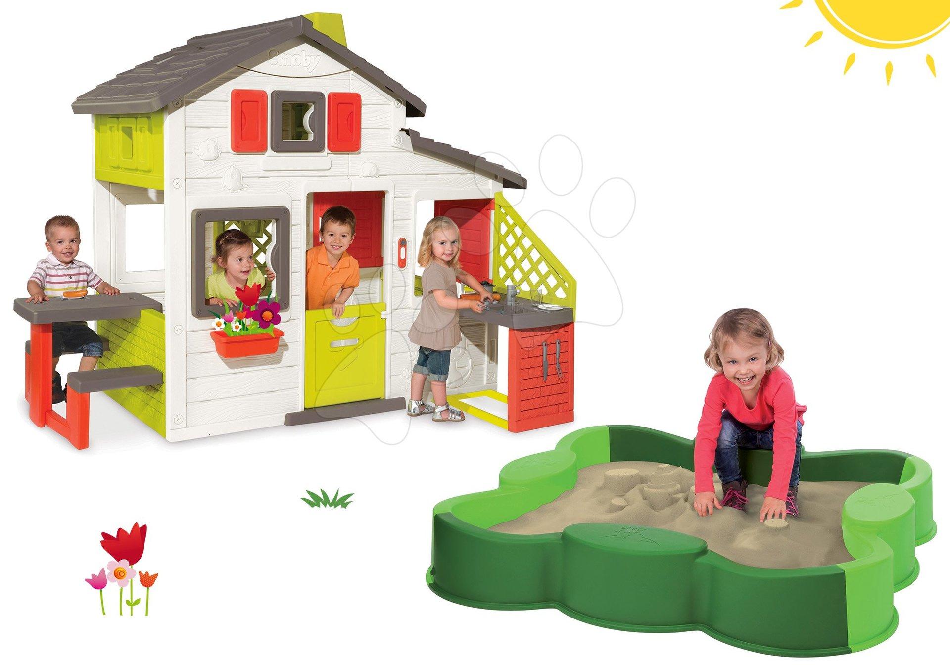 Set domeček Přátel s kuchyňkou Smoby a zvonkem, pískoviště Čtyřlístek Vario BIG s plachtou