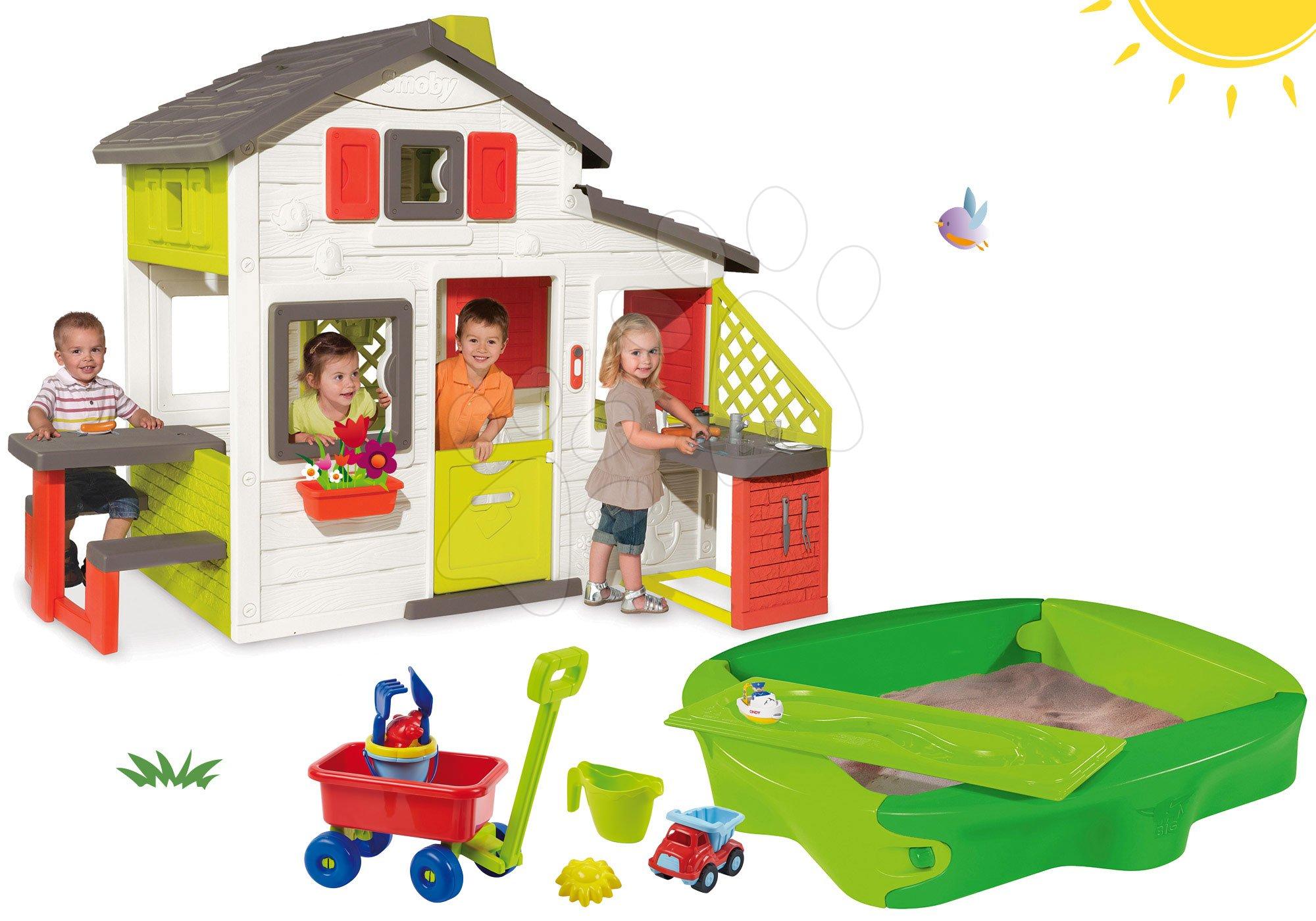Smoby set domček Priateľov, BIG pieskovisko Sandy a Écoiffier vozík na ťahanie 810200-28