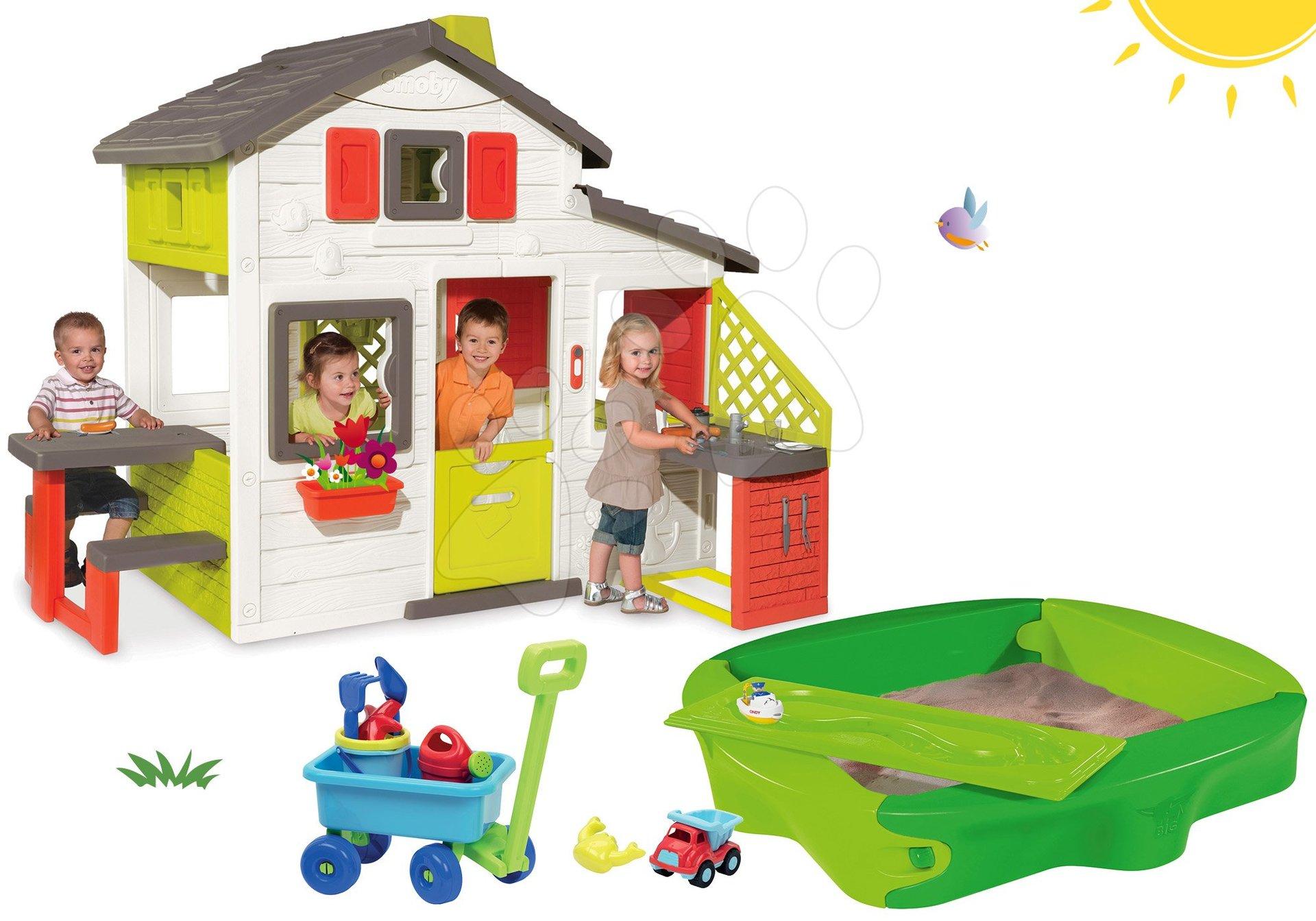 Set domček Priateľov Smoby s kuchynkou a zvončekom, pieskovisko Sandy s krytom a vozík na ťahanie