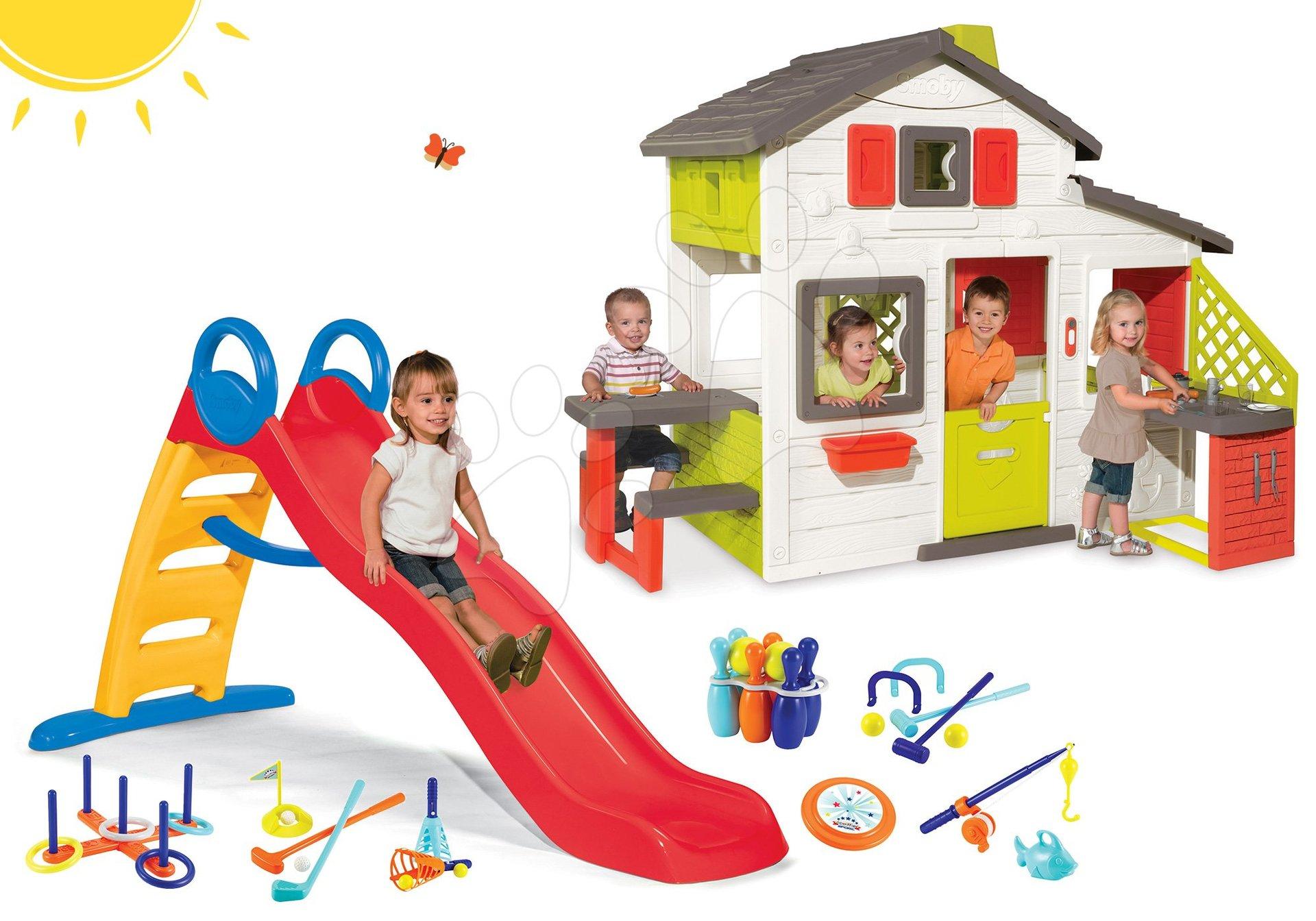 Set domček Priateľov Smoby s kuchynkou a šmykľavka s vodotryskom Funny 2 metrová so športovým setom