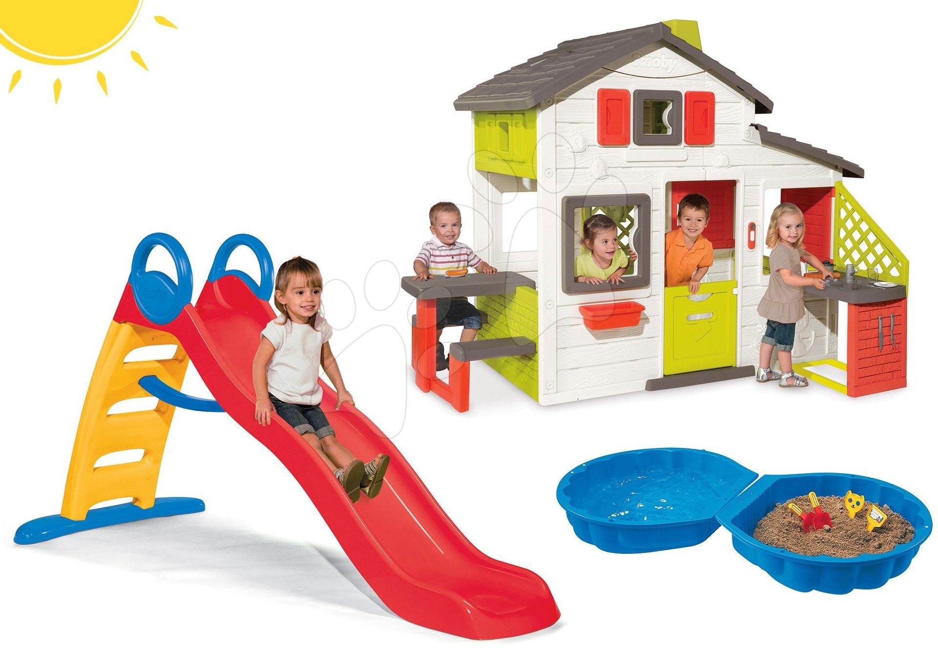 Smoby set domček Priateľov s kuchynkou a šmykľavka s vodotryskom Funny a pieskovisko mušľa 810200-32
