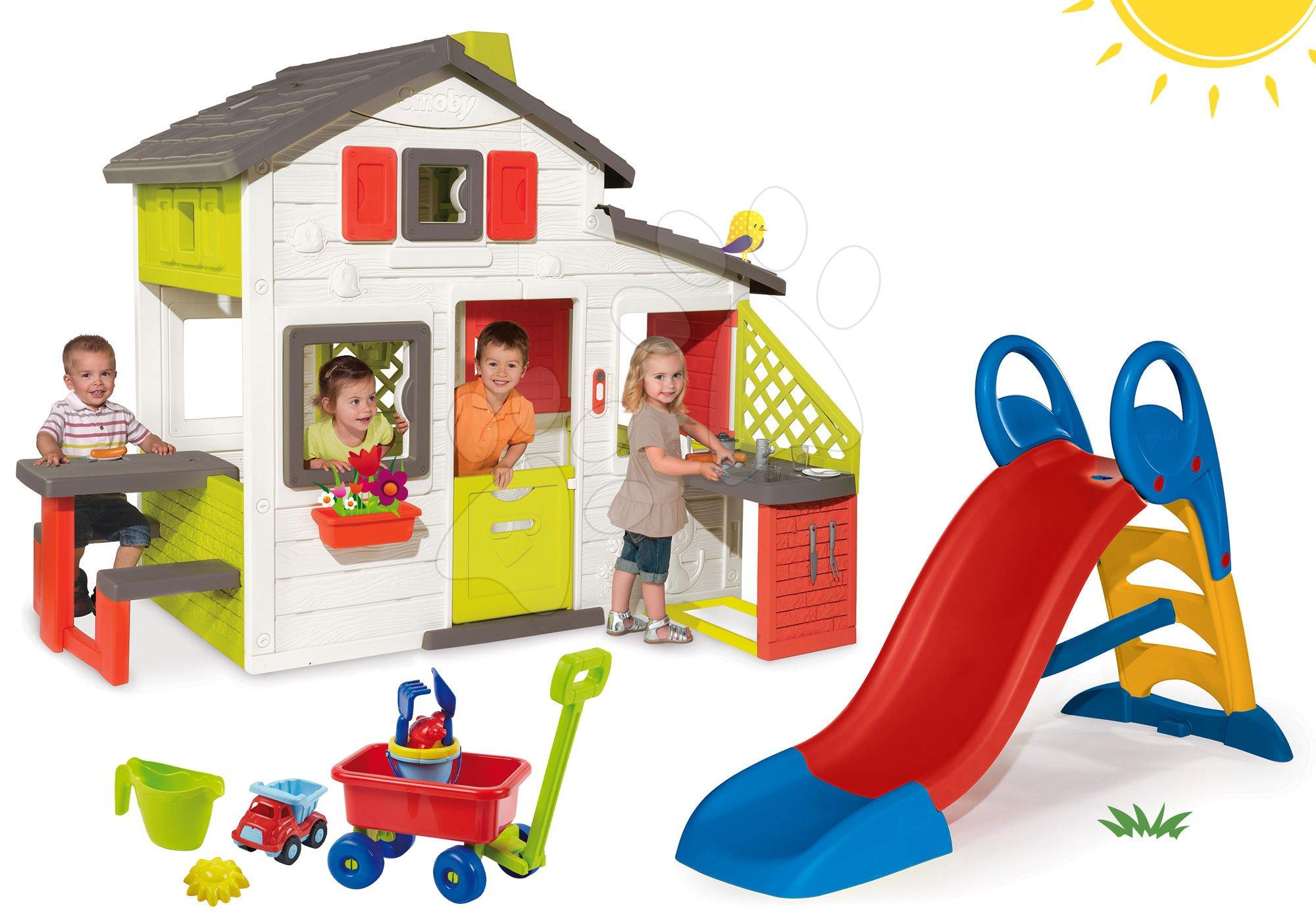 Smoby set domček Priateľov s kuchynkou a šmykľavka Toboggan KS a vozík na ťahanie 810200-36