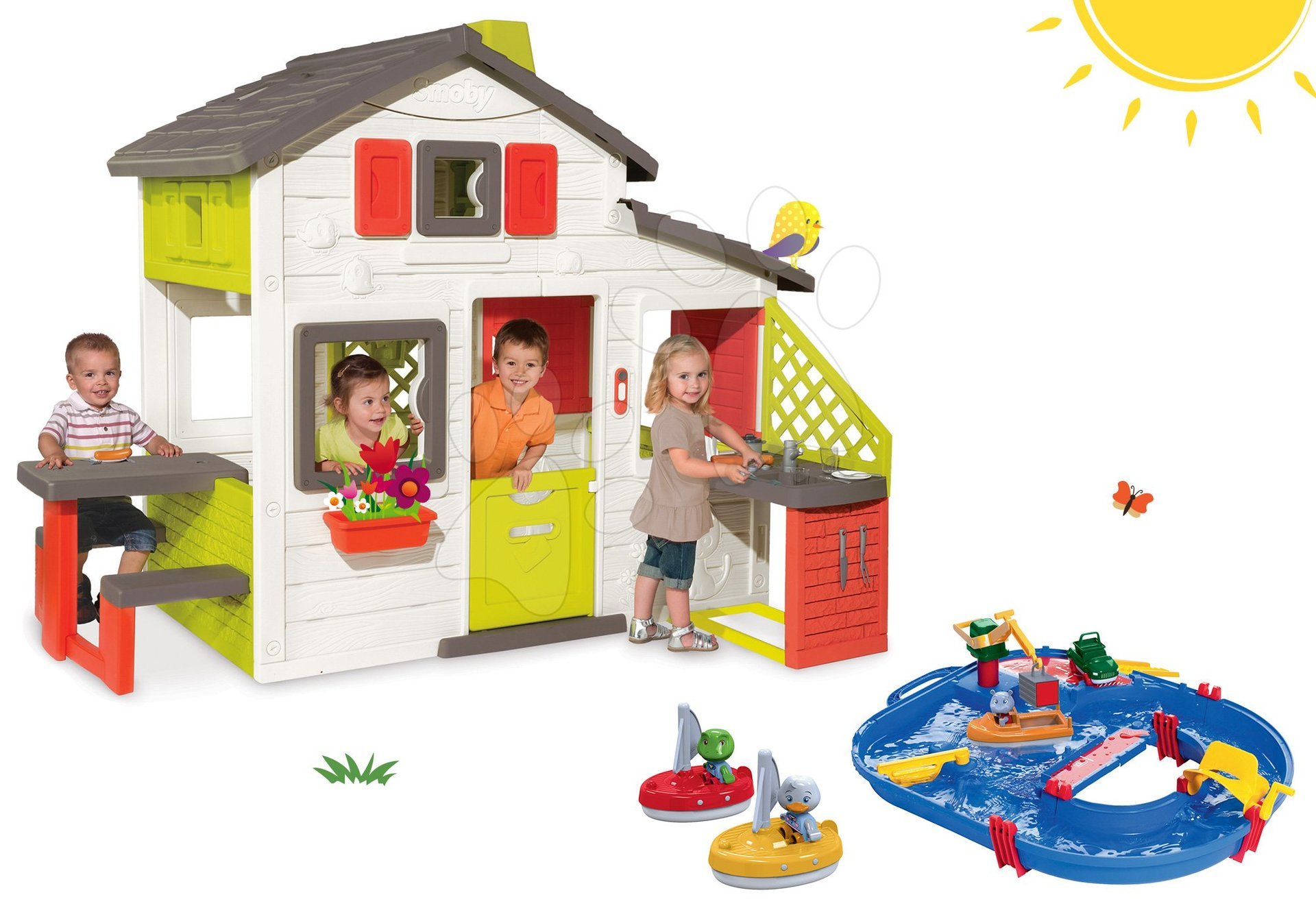 Smoby set domček Priateľov s kuchynkou a vodná dráha AquaPlay Start Set s kontajnerom a plachetnice 810200-38