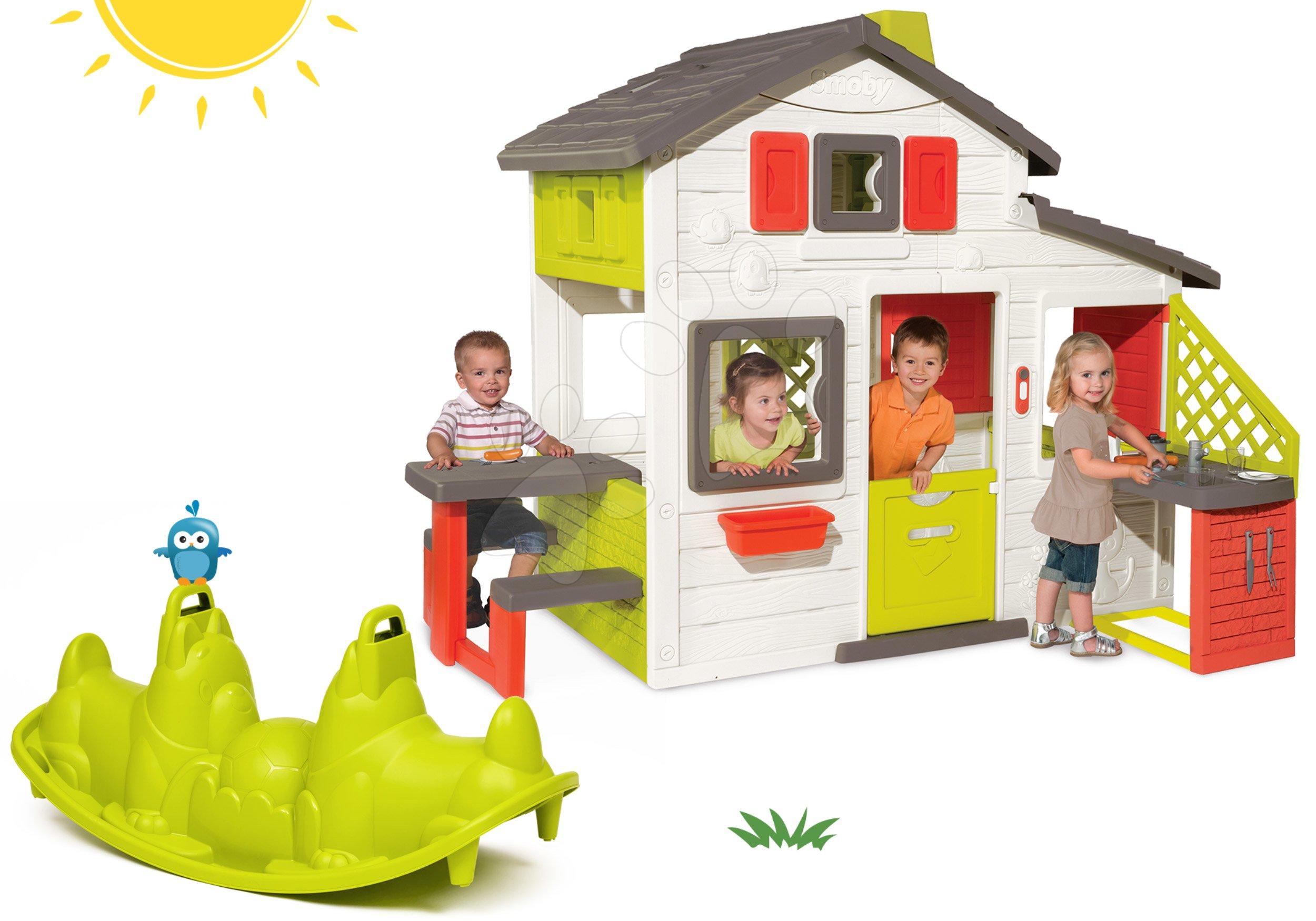 Szett házikó Barátok Smoby konyhával és csengővel és kutyus libikóka