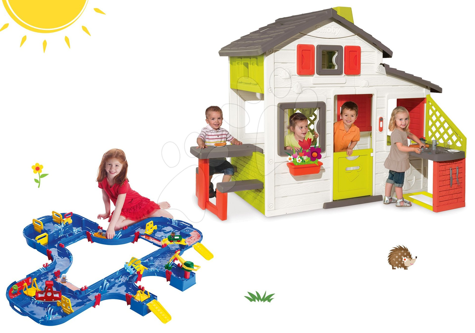Szett házikó Barátok Smoby konyhácskával és vízi pálya AquaPlay Mega LockBox bőröndben