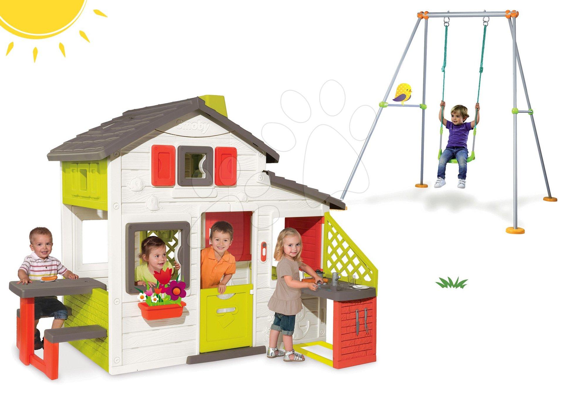 Smoby set domček Priateľov s kuchynkou a hojdačka Portique s kovovou konštrukciou 810200-42
