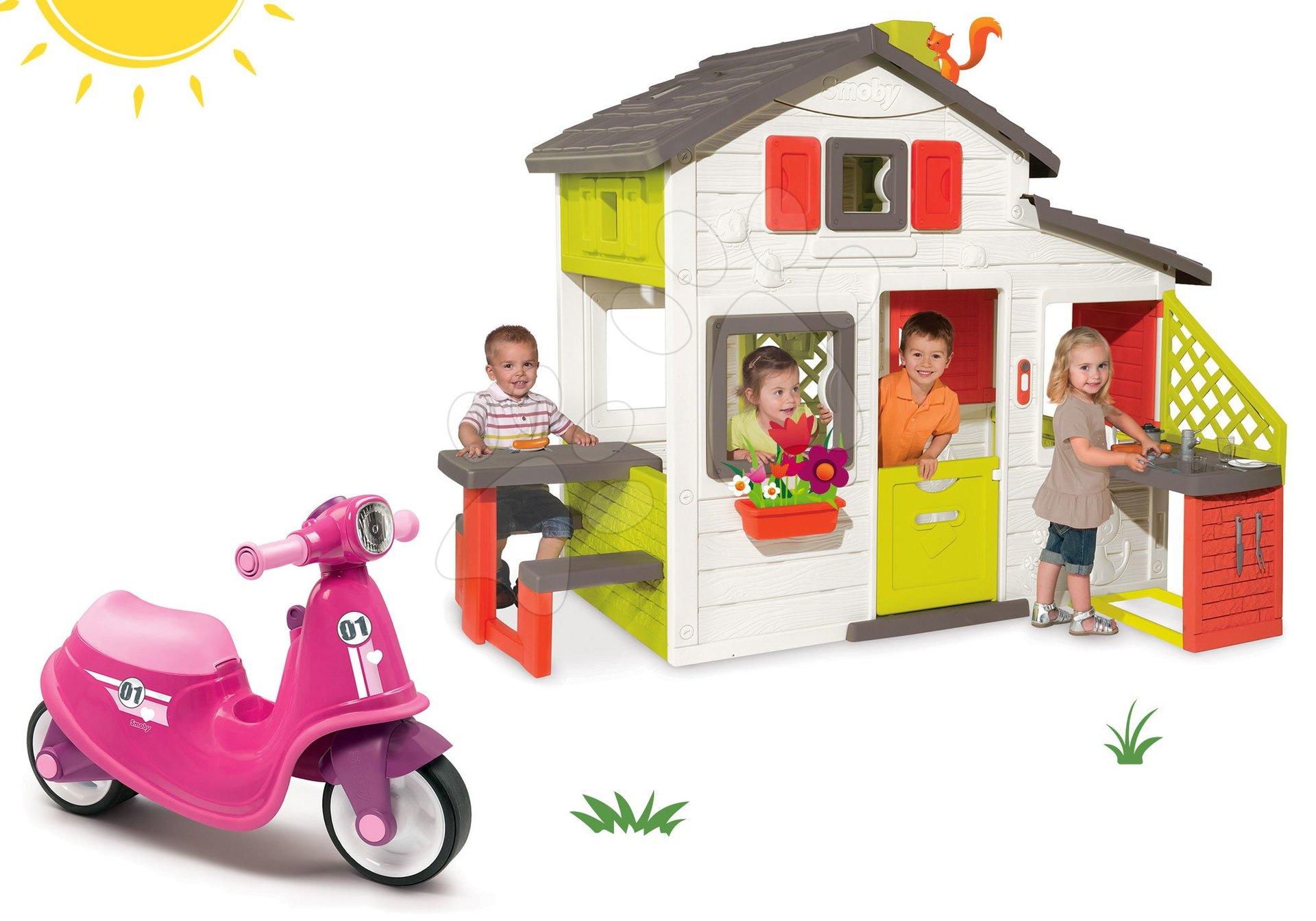 Set căsuţă Prieteni Smoby cu bucătărie mică și babytaxiu cu far Scooter şi cu roţi din cauciuc