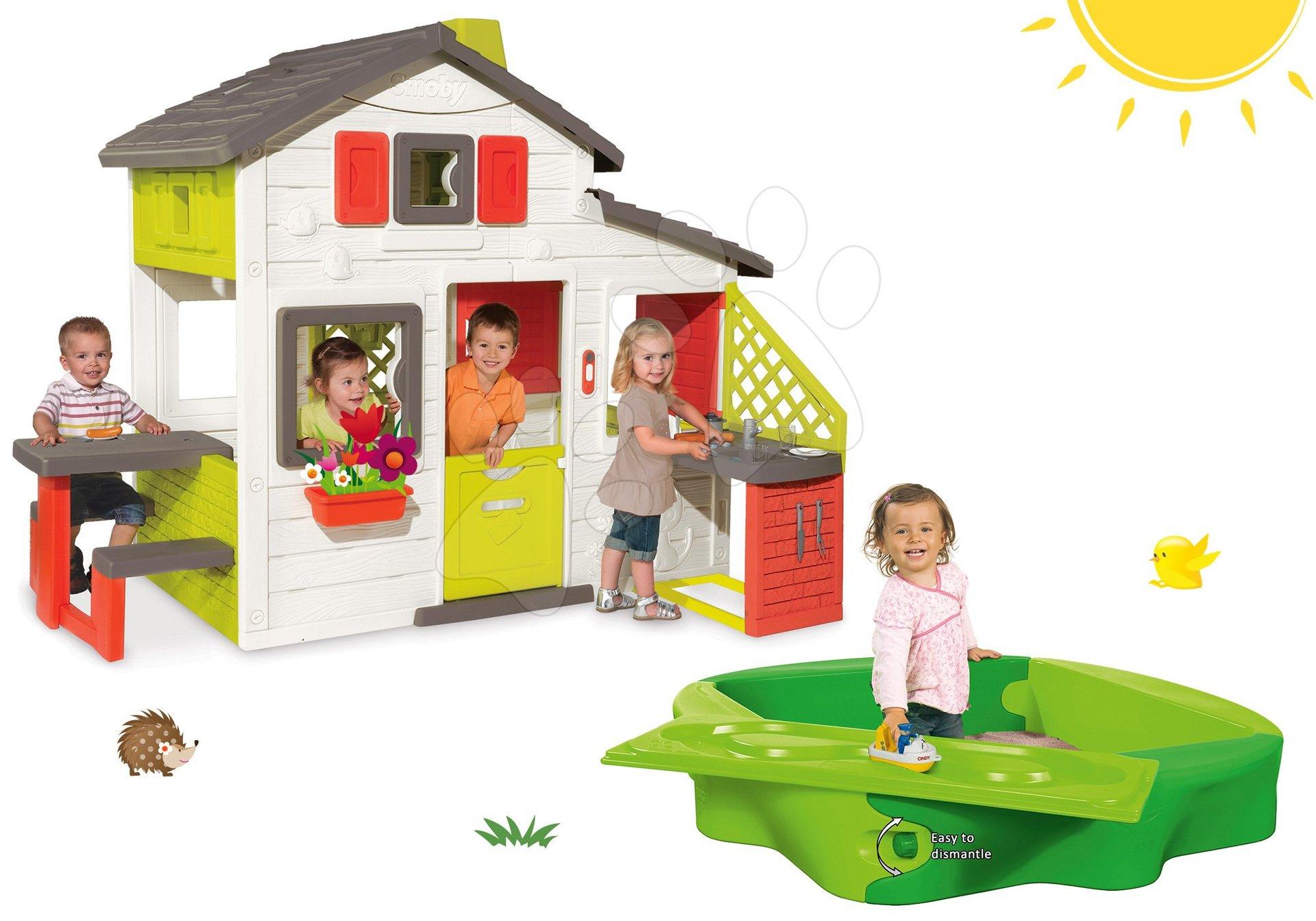 Set domček Priateľov Smoby s kuchynkou a pieskovisko Sandy s krytom a vodnou dráhou
