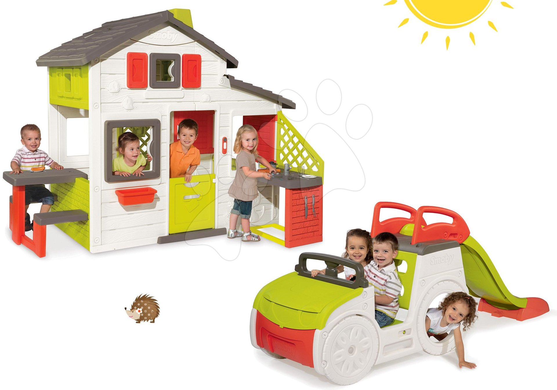 Szett házikó Jóbarátok Smoby konyhával és csengővel és mászóka Autó homokozóval és csúszdával hossza 150 cm