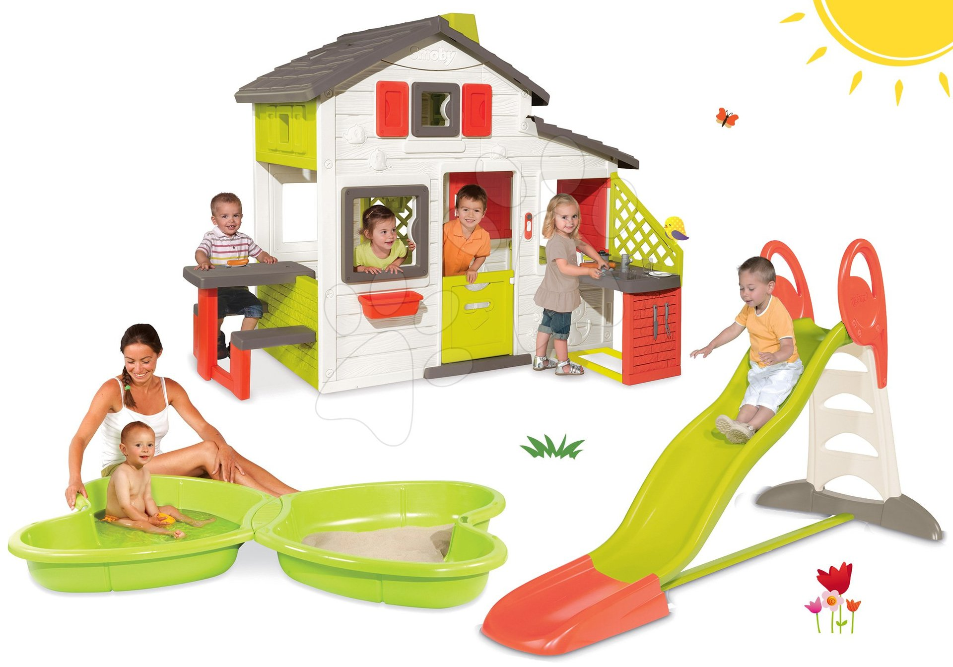 Set domček Priateľov Smoby s kuchynkou a šmykľavka Toboggan XL 2,3 m s pieskoviskom Motýľ