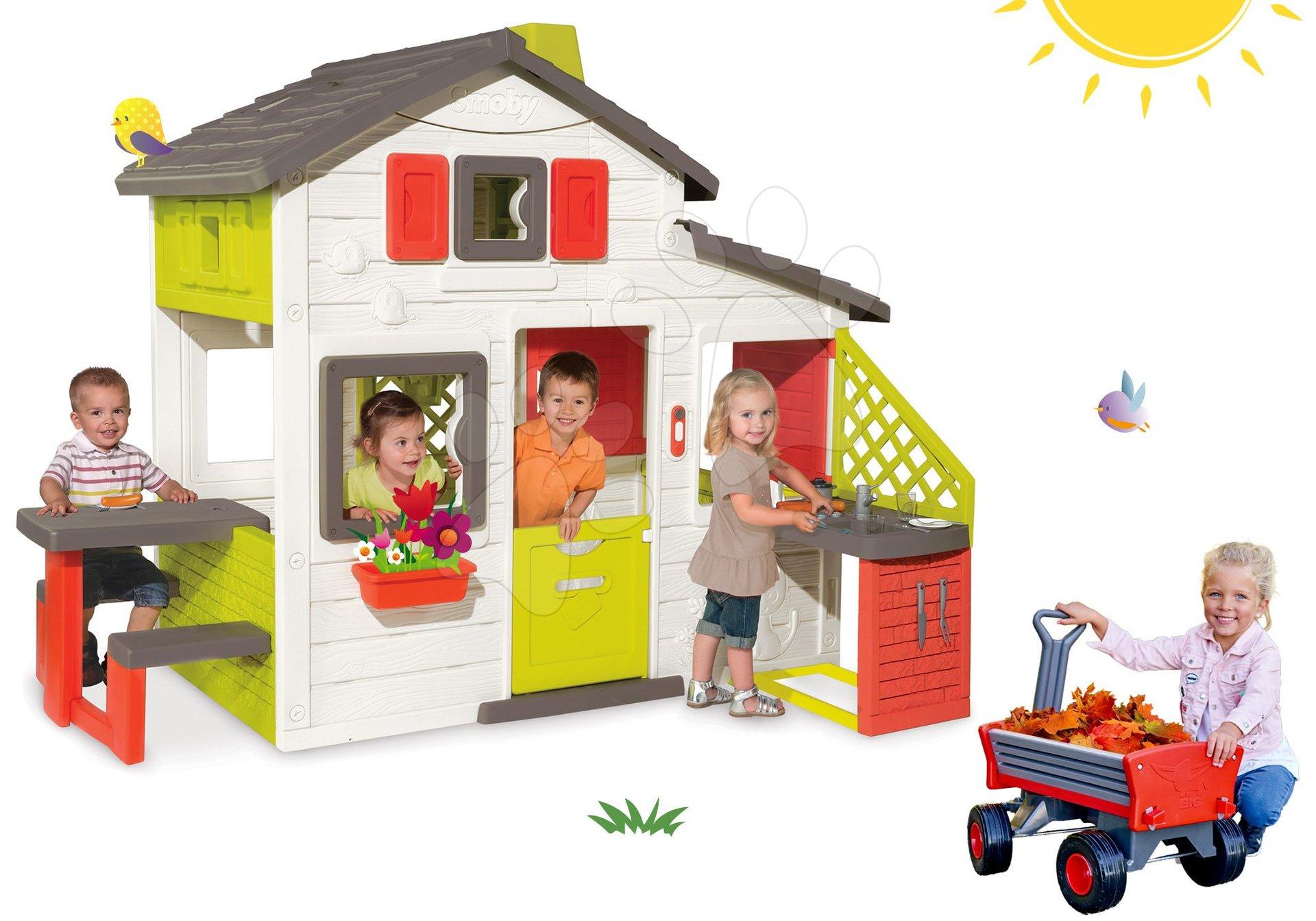 Set domček Priateľov Smoby s kuchynkou a vozík na ťahanie Peppy Handwagen s otočnými kolesami