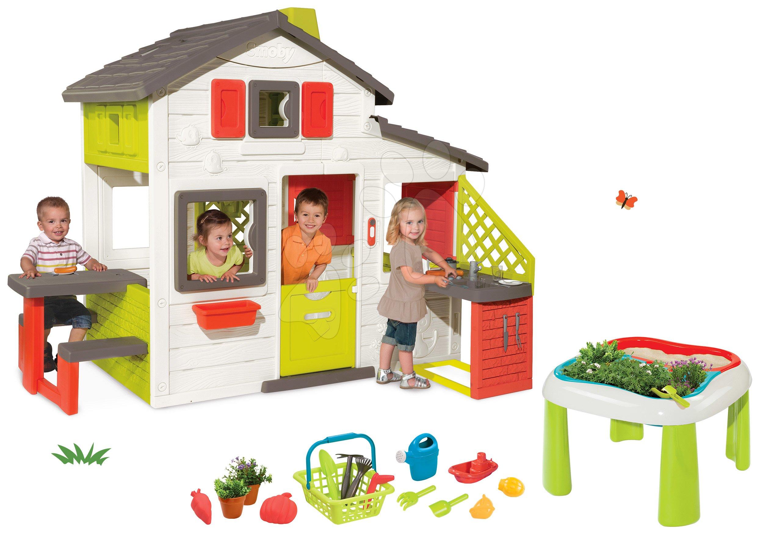 Set domeček Přátel Smoby s kuchyňkou a zvonkem a stůl Zahradník De Jardinage 2v1