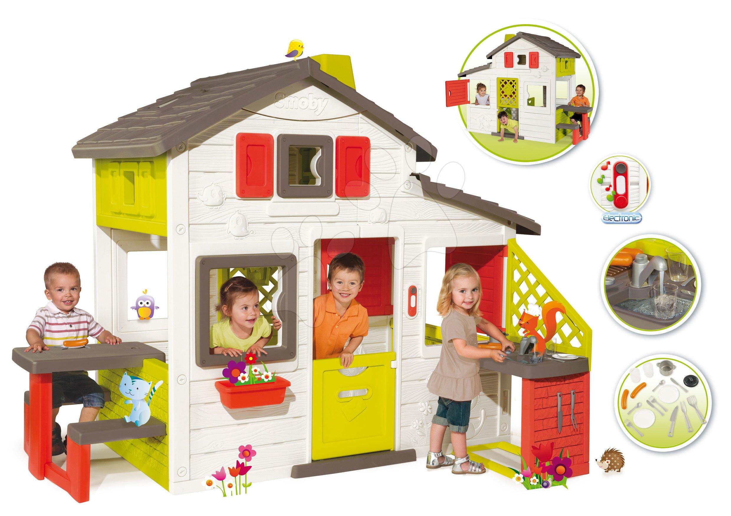 Domčeky pre deti - Domček Priateľov Smoby s kuchynkou s vodou a elektronickým zvončekom