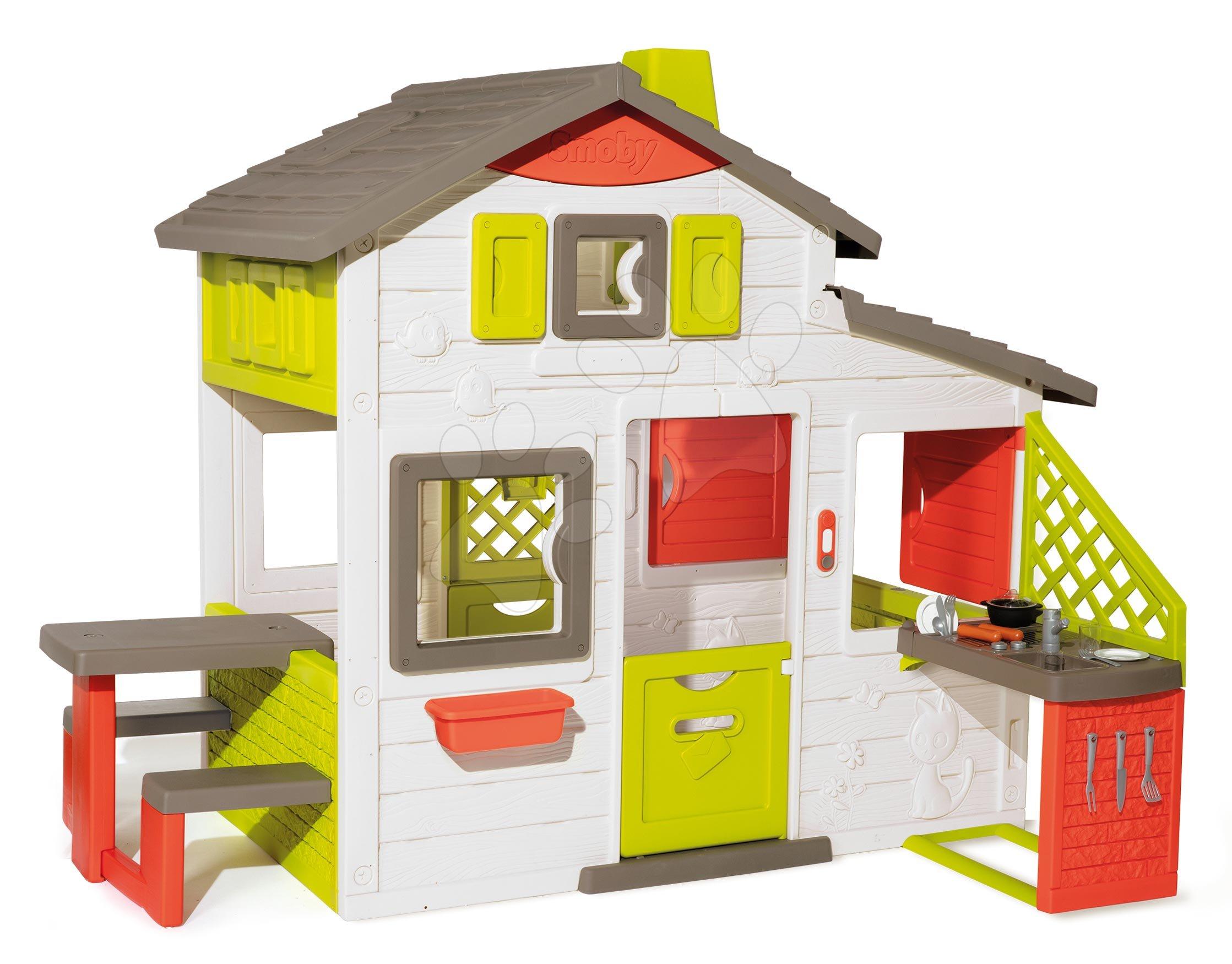 Házikó Jóbarátok konyhával tágas Neo Friends House Smoby 2 ajtó 6 ablak piknik asztal és egyéb kiegészítőkkel is bővíthető 172 cm magas UV szűrővel