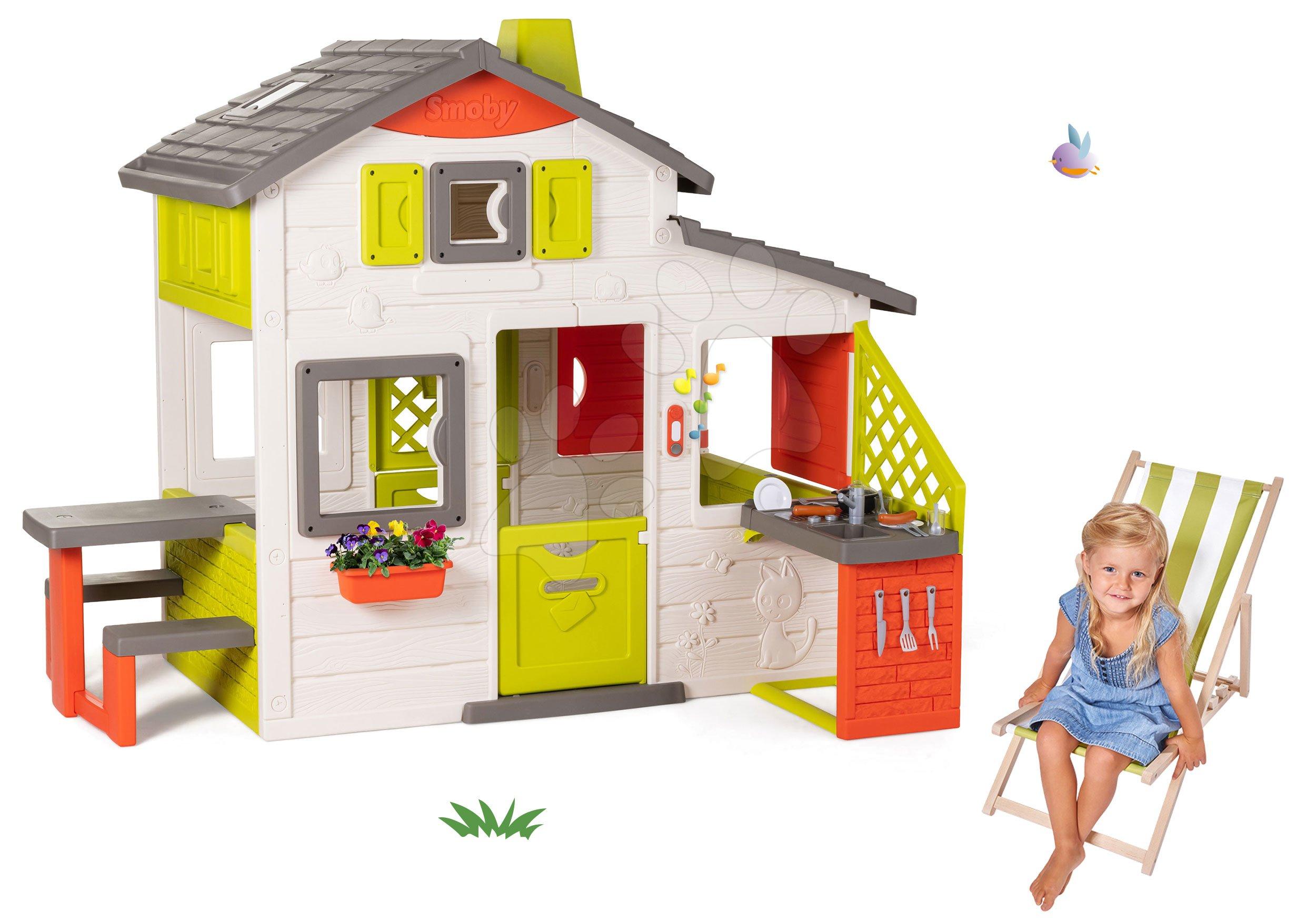 Set domček Priateľov Smoby s kuchynkou a drevené lehátko polohovateľné s textilným poťahom