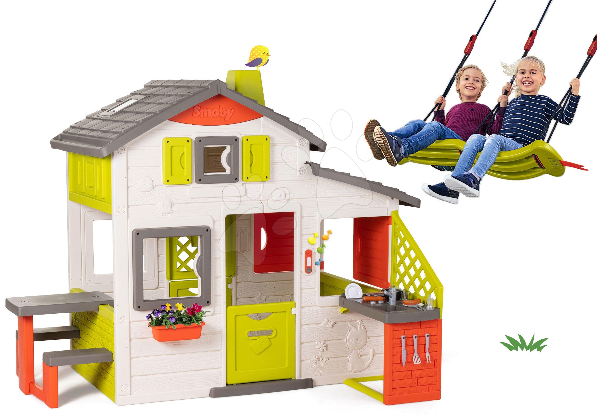 Set domček Priateľov Smoby s kuchynkou a závesná hojdačka pre dve deti výškovo nastaviteľná