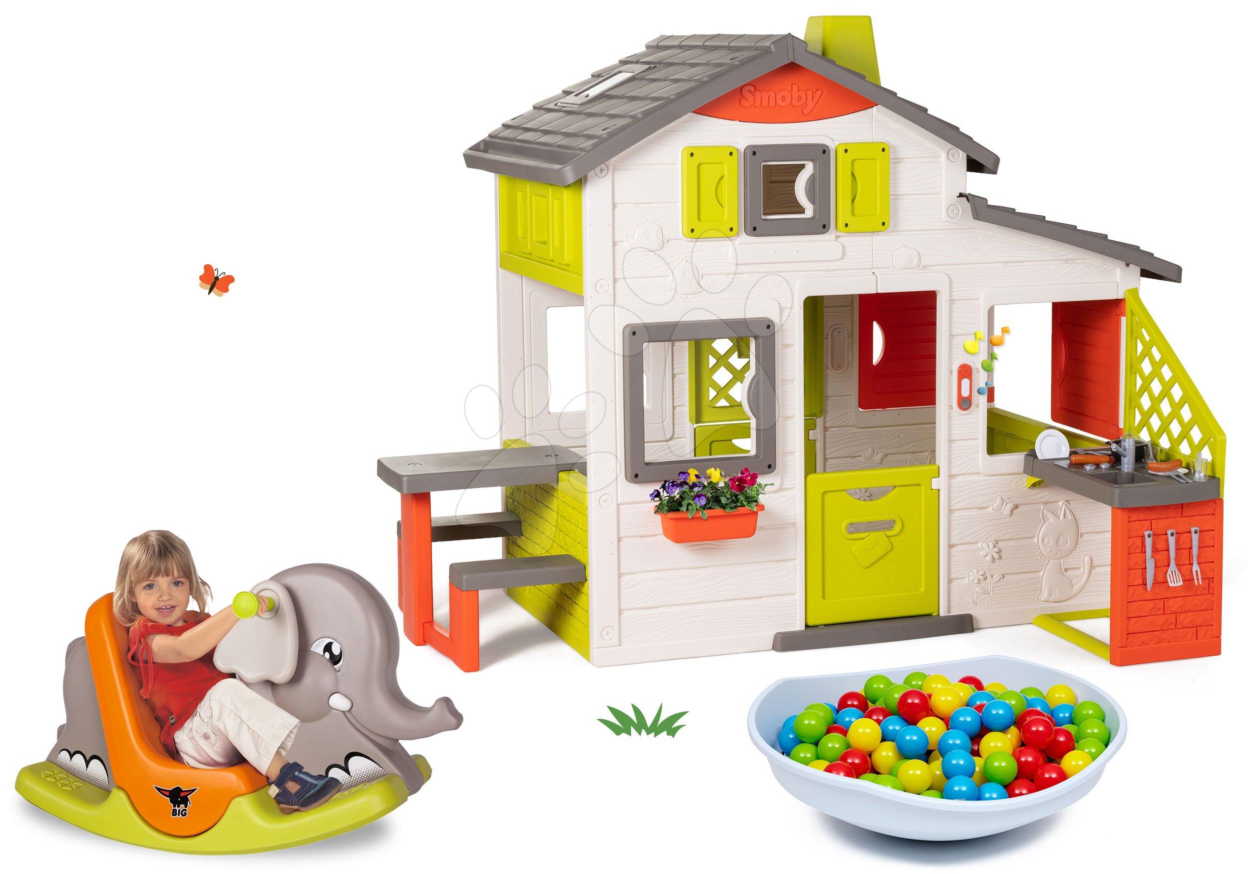 Set domček Priateľov Smoby s kuchynkou a hojdačka slon s balančným kuželom pieskovisko-hojdačka-šmykľavka-preliezka-bazén