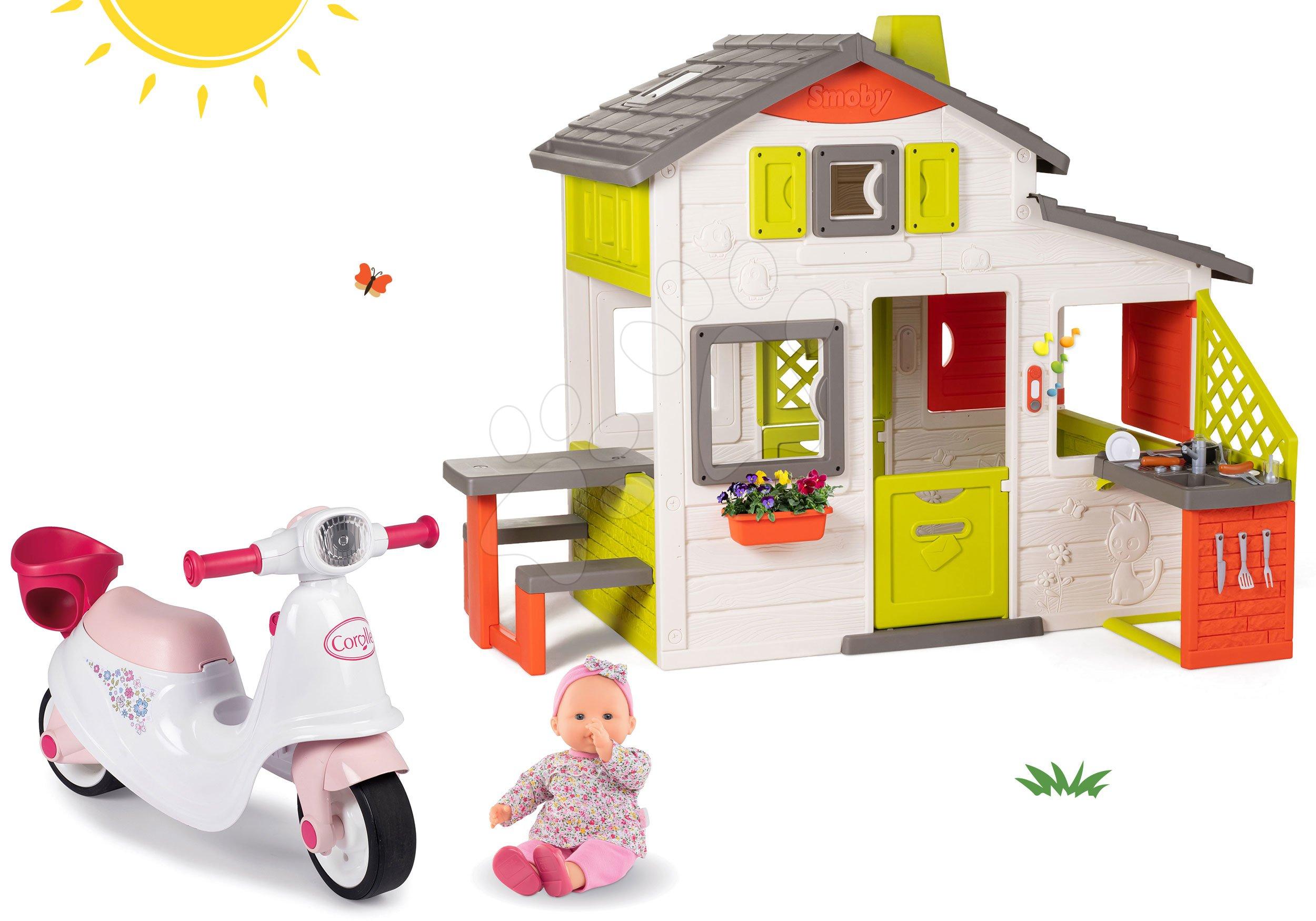 Set domeček Přátel Smoby s kuchyňkou a odrážedlo skútr s Corolle panenkou v dětském nosiči