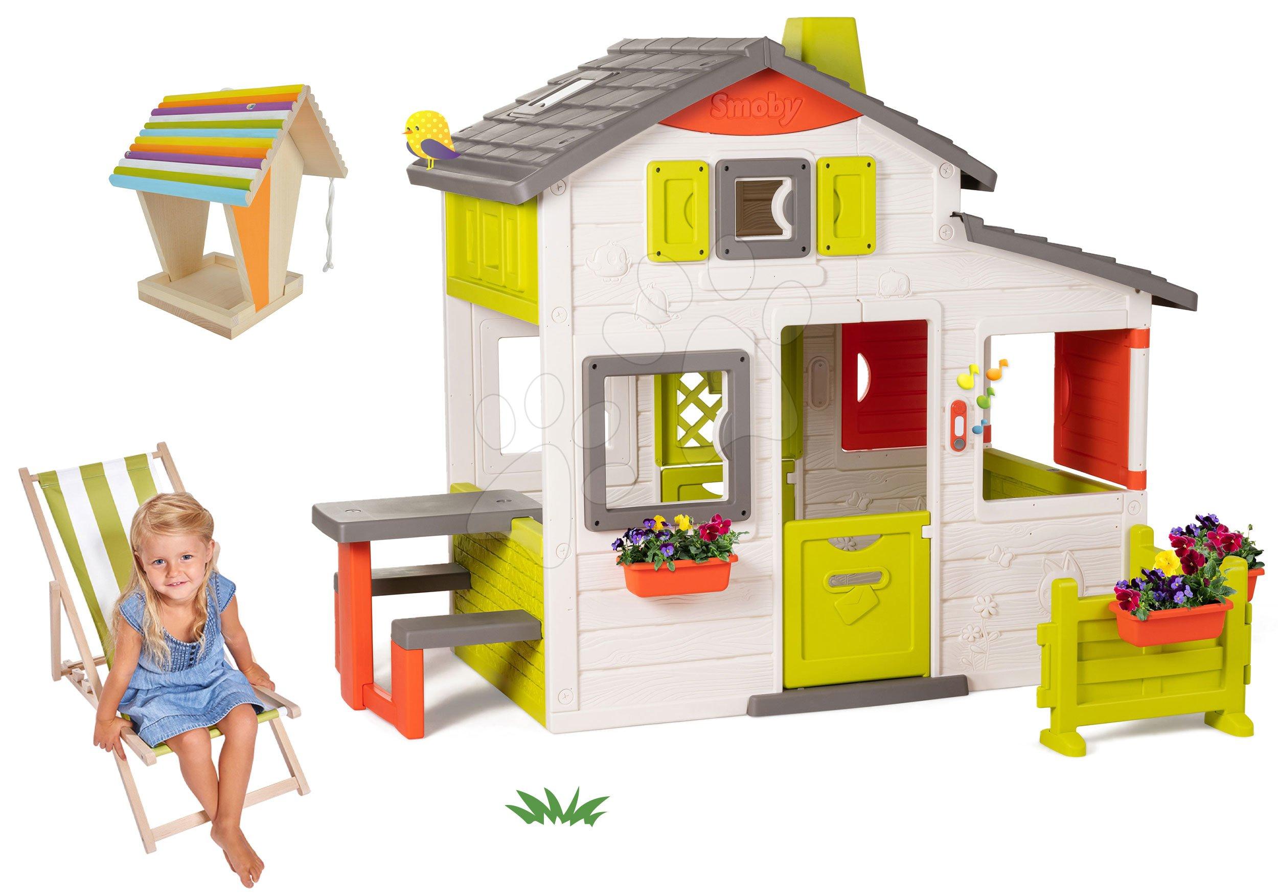 Set domček Priateľov Smoby s predzáhradkou a drevené lehátko s krmítkom pre vtáčiky