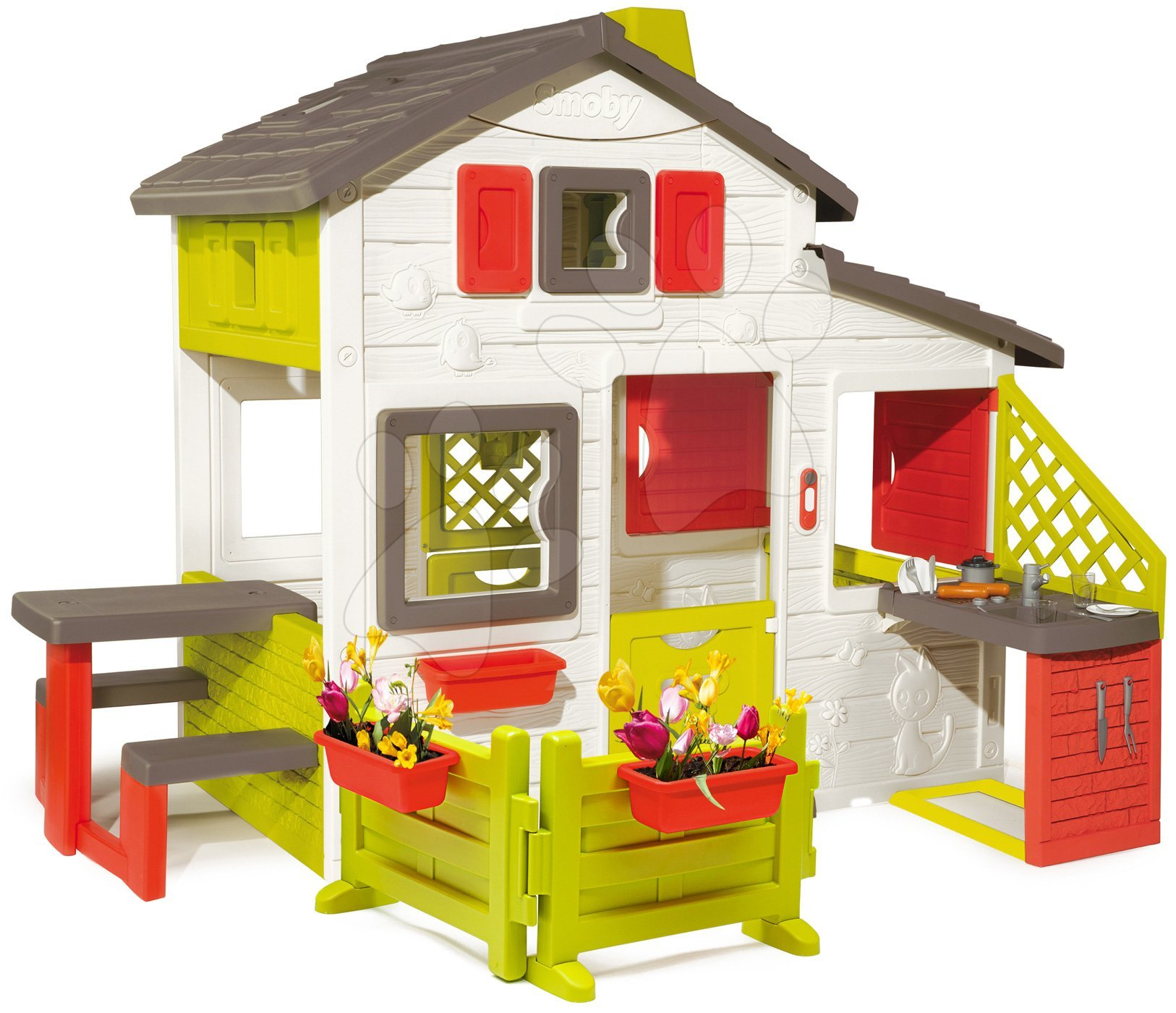 Házikó Jóbarátok House Smoby konyhasarokkal és előkerttel