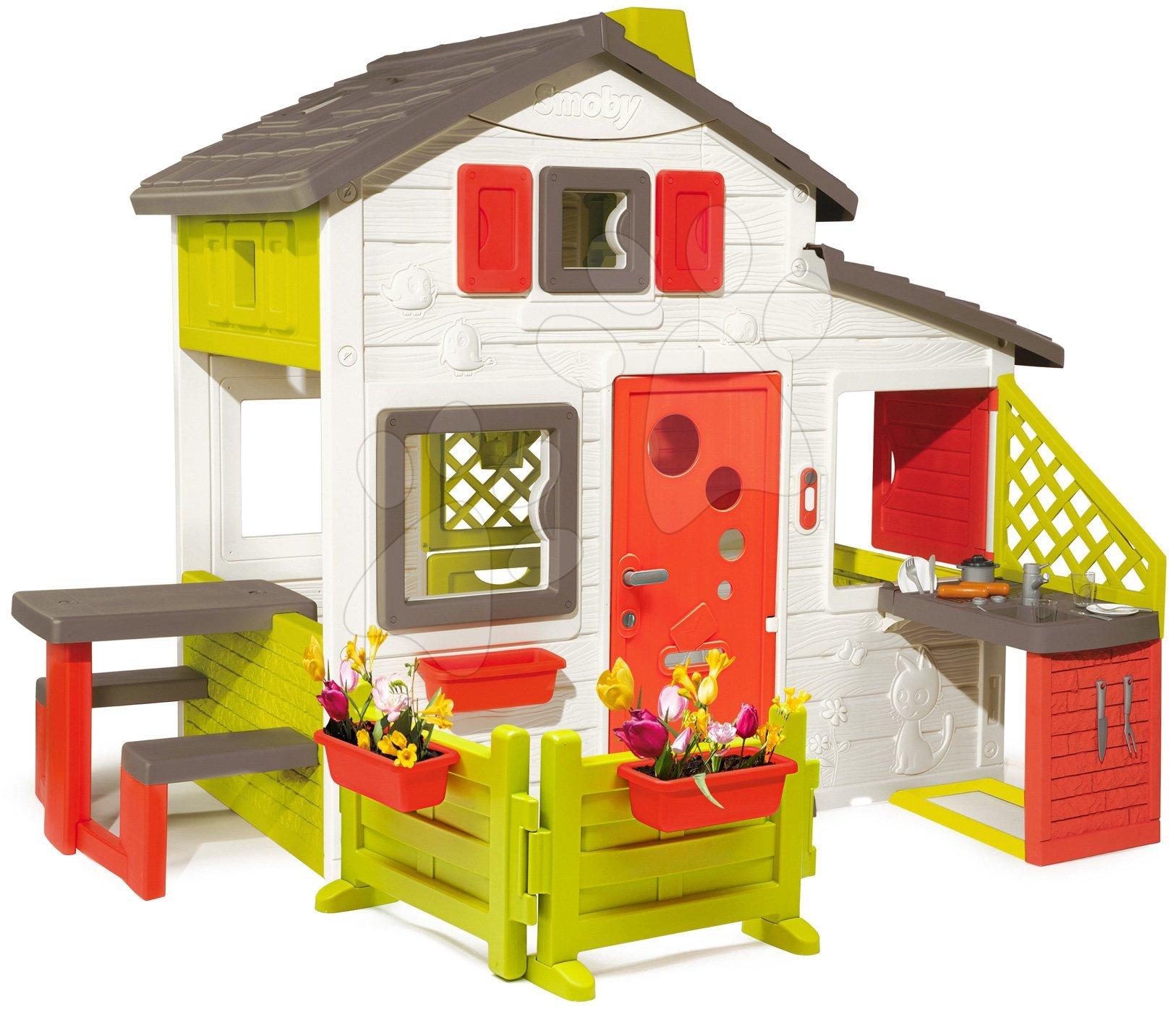 Domeček Friends House Smoby s kuchyňkou, zahrádkou a plnými dveřmi