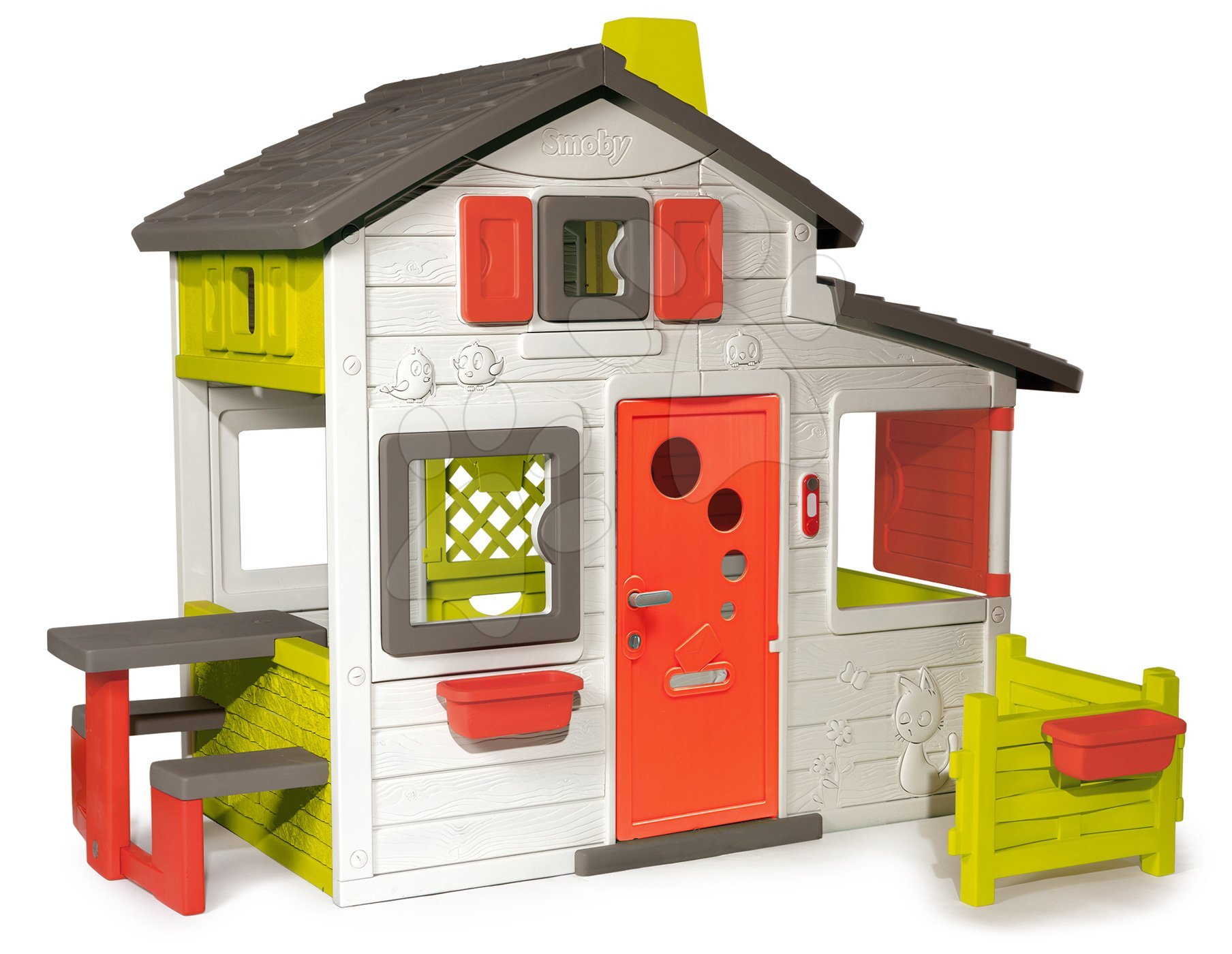 Házikó Jóbarátok Friends House Smoby előkerttel és teljes bejárati ajtóval