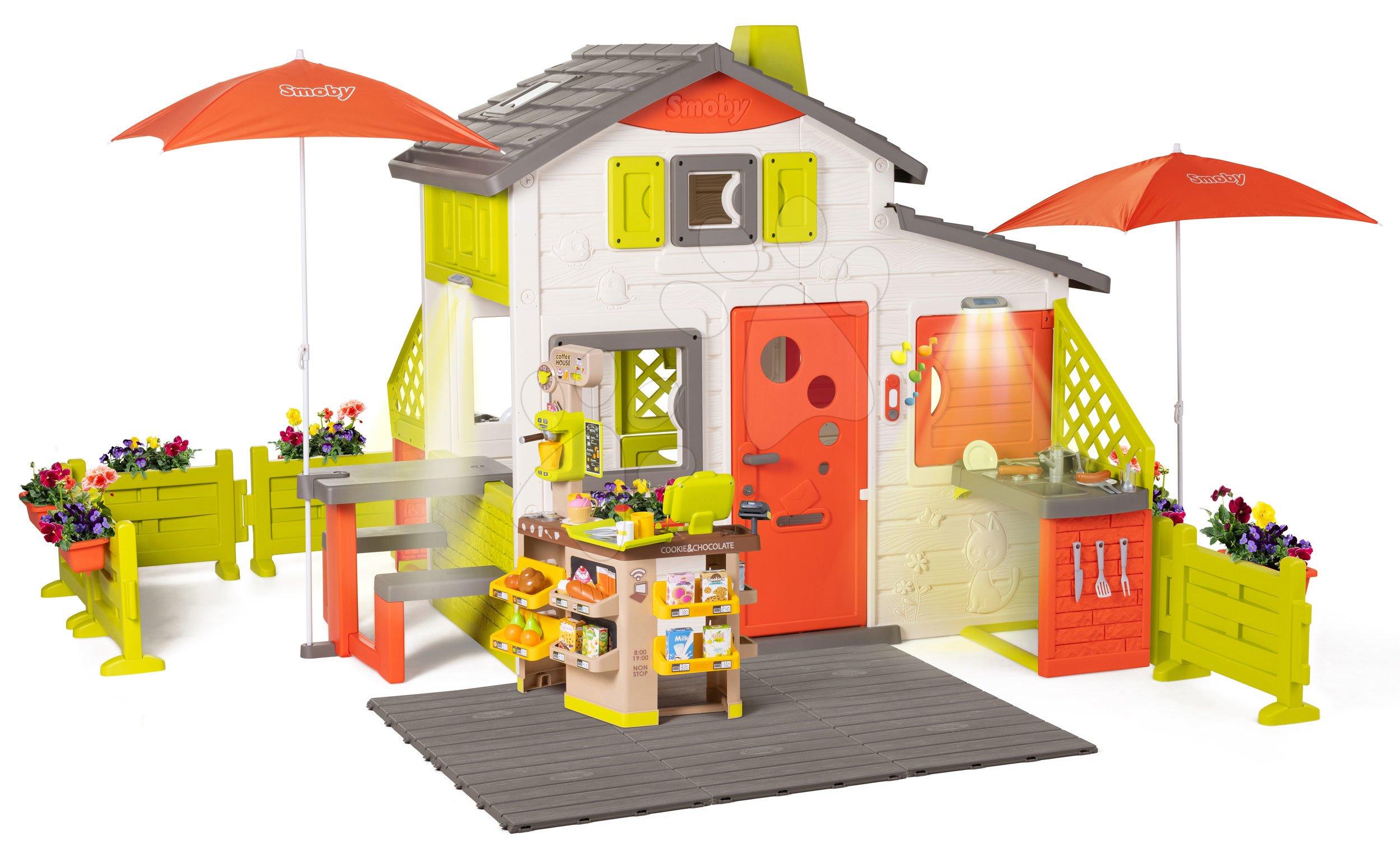Domček Neo Friends House DeLuxe Smoby s Bio kaviarňou a kuchynka s jedálenským kútikom pod slnečníkmi
