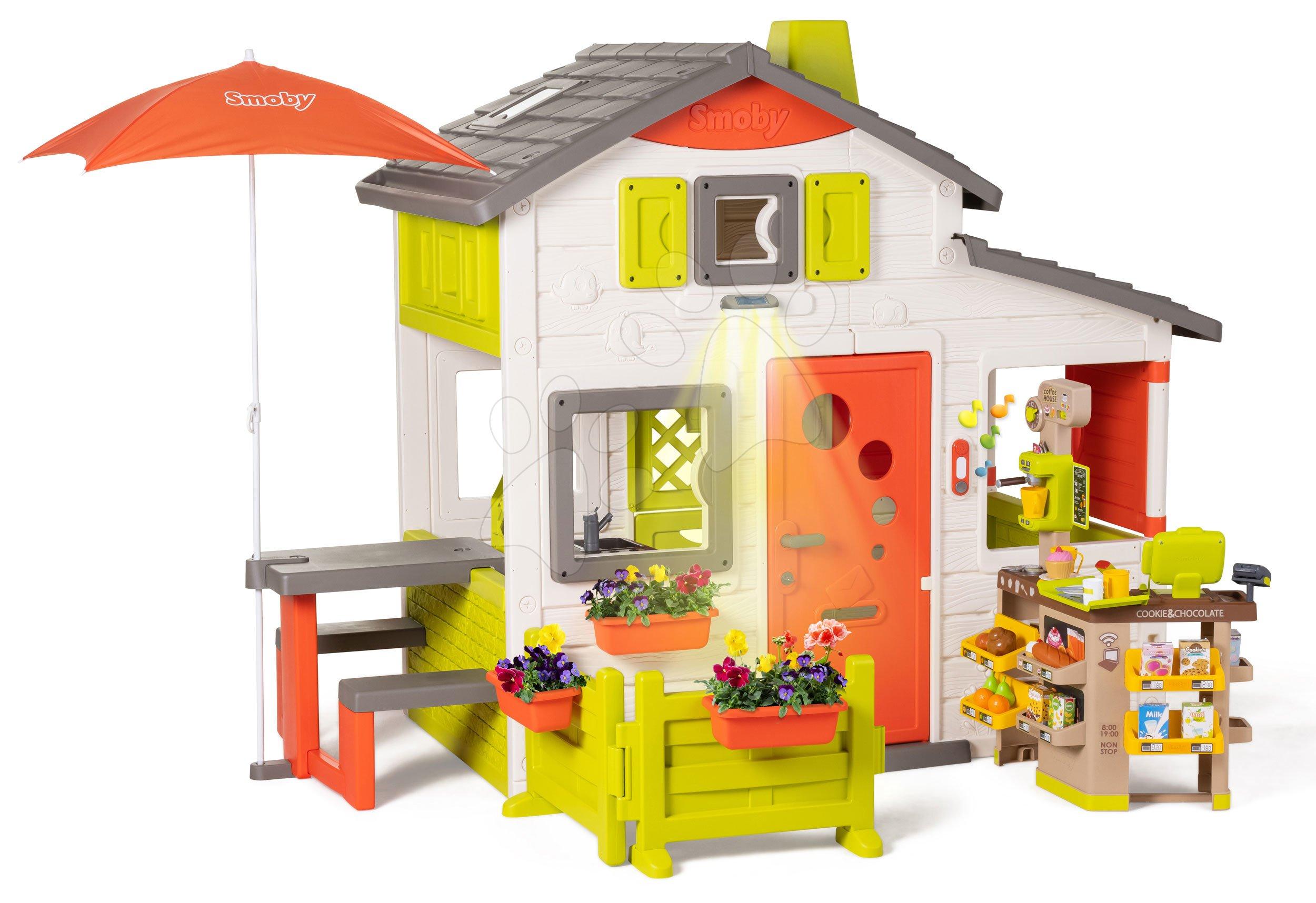 Domček Neo Friends House DeLuxe Smoby s Bio kaviarňou a kuchynkou na rohu ulice SM810211-R
