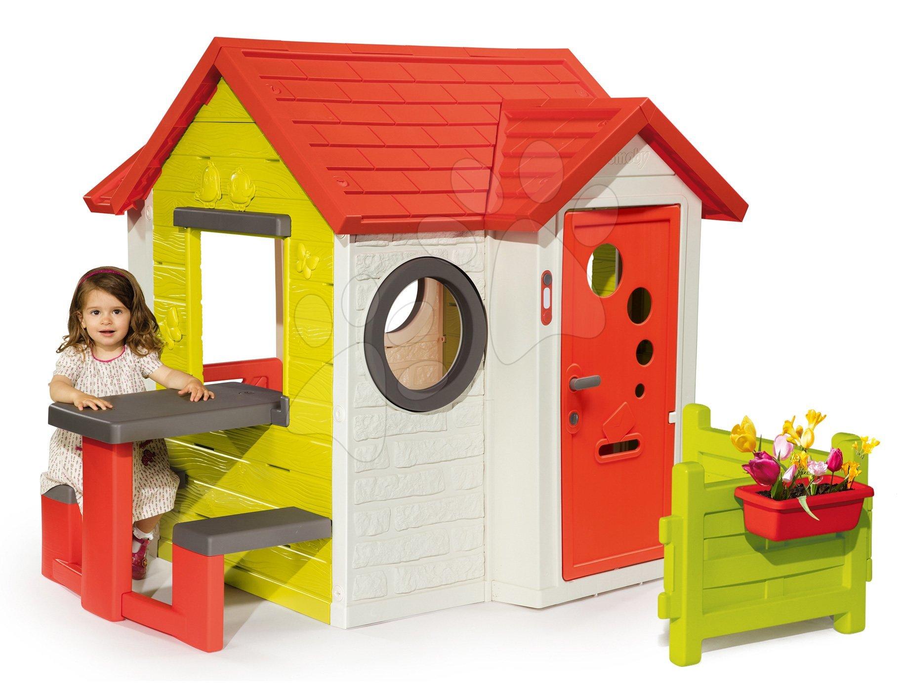 Házikó My House Smoby piknik asztallal előkerttel és teljes bejárati ajtóval