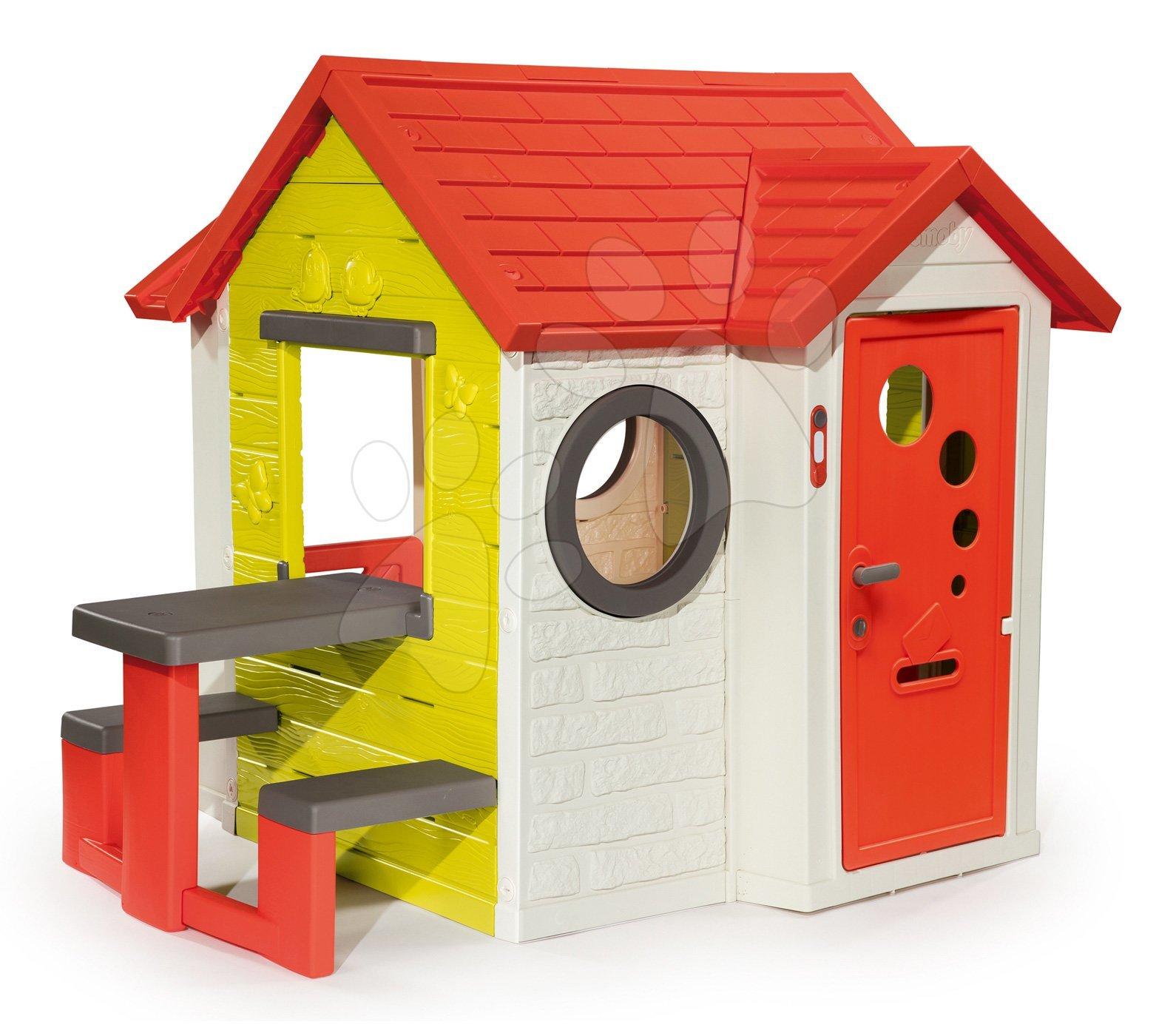 Házikó My House Smoby piknik asztallal és teljes bejárati ajtóval