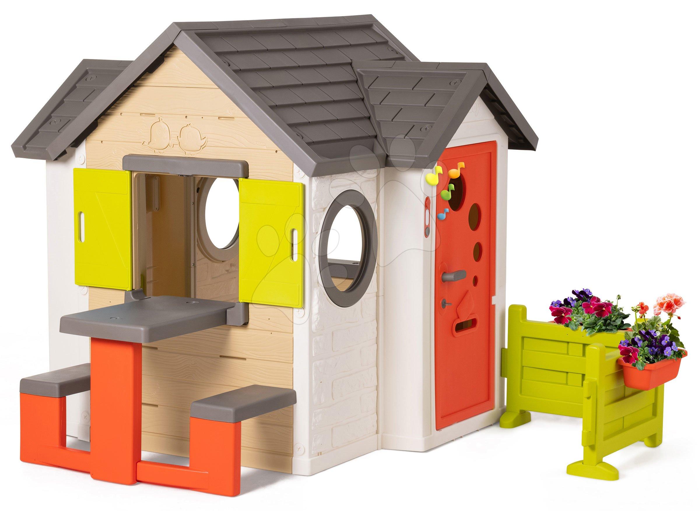 Domeček My House Smoby se stolem zahrádkou a plnými dveřmi