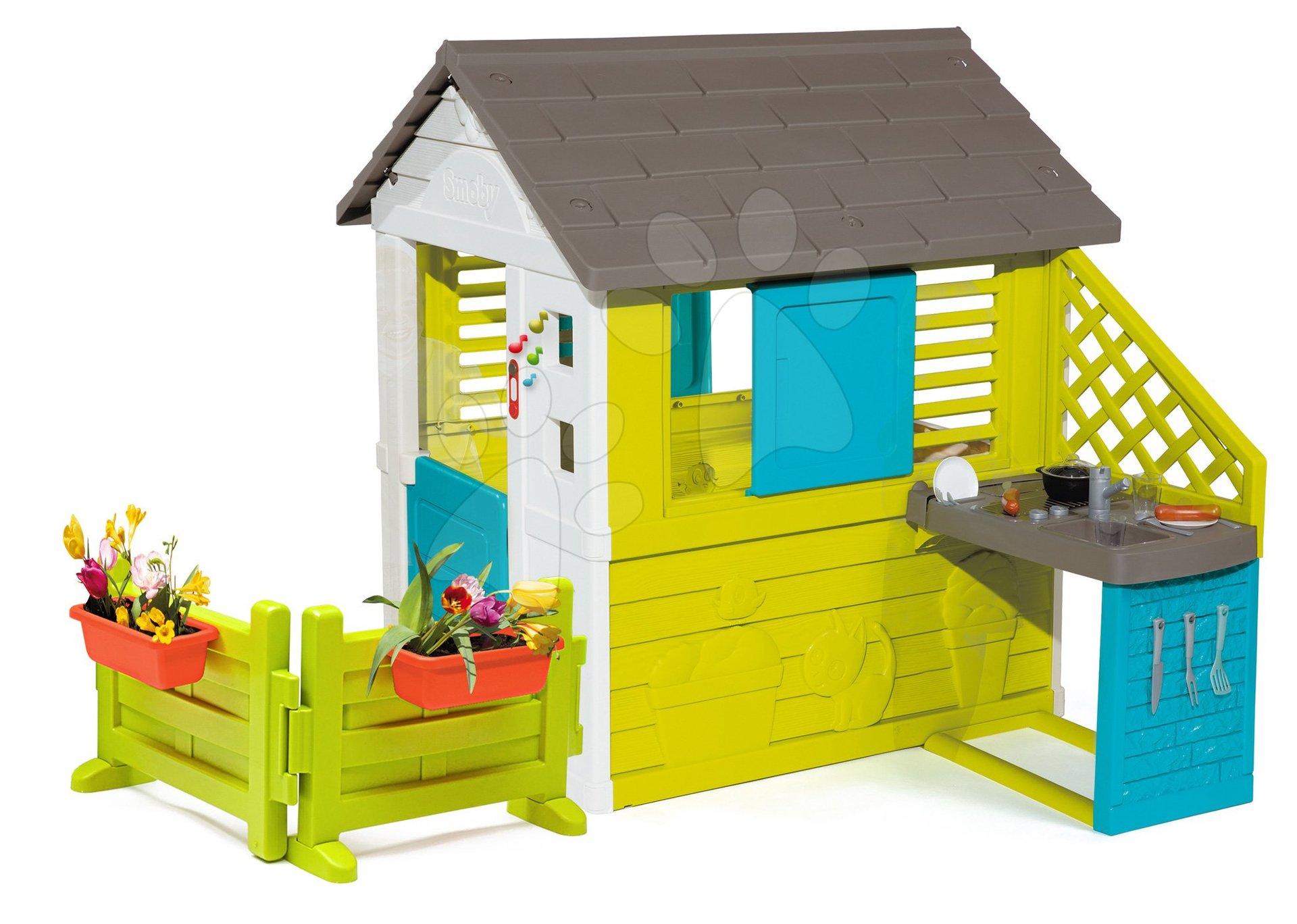 Domček s kuchynkou Pretty Blue Smoby modrý 3 okná a 2 žalúzie s okenicou so zvončekom a záhradkou od 24 mes