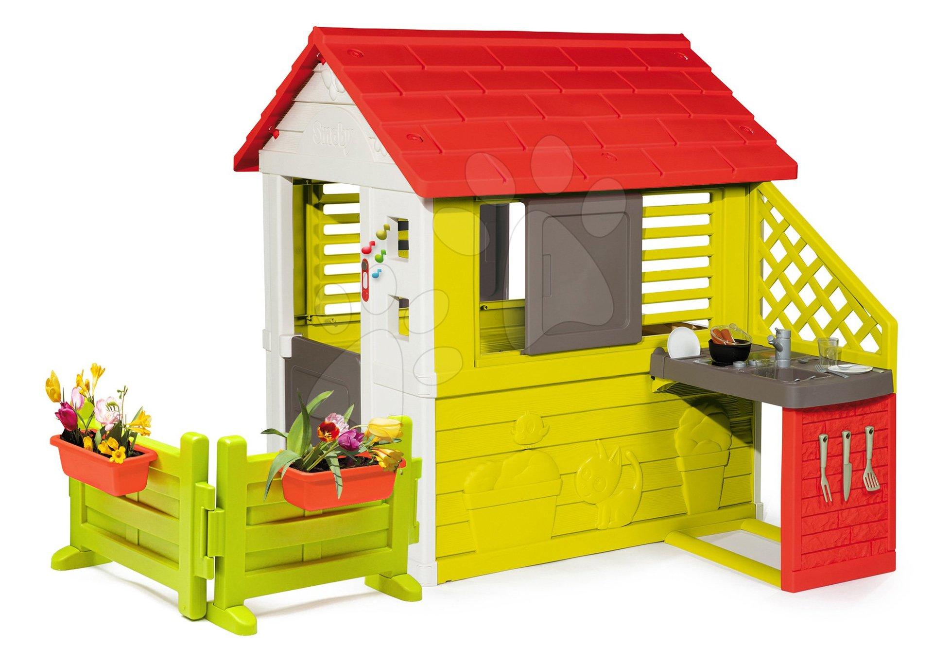 Domček s kuchynkou Nature Smoby 3 okná 2 žalúzie s okenicou so zvončekom a záhradkou od 24 mes